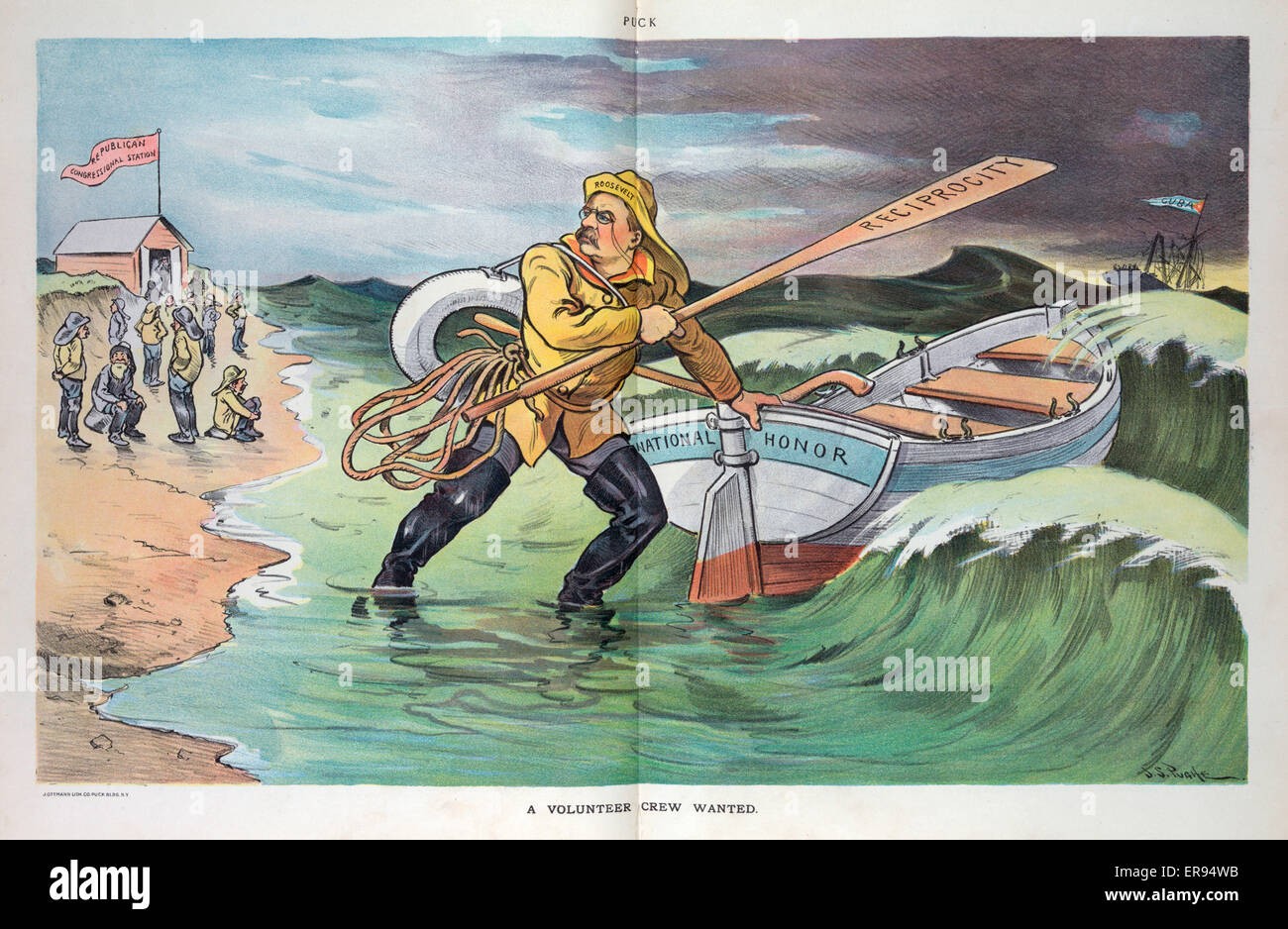 A volunteer crew wanted. Illustration shows President Theodore Roosevelt putting a rescue boat labeled National - Stock Image