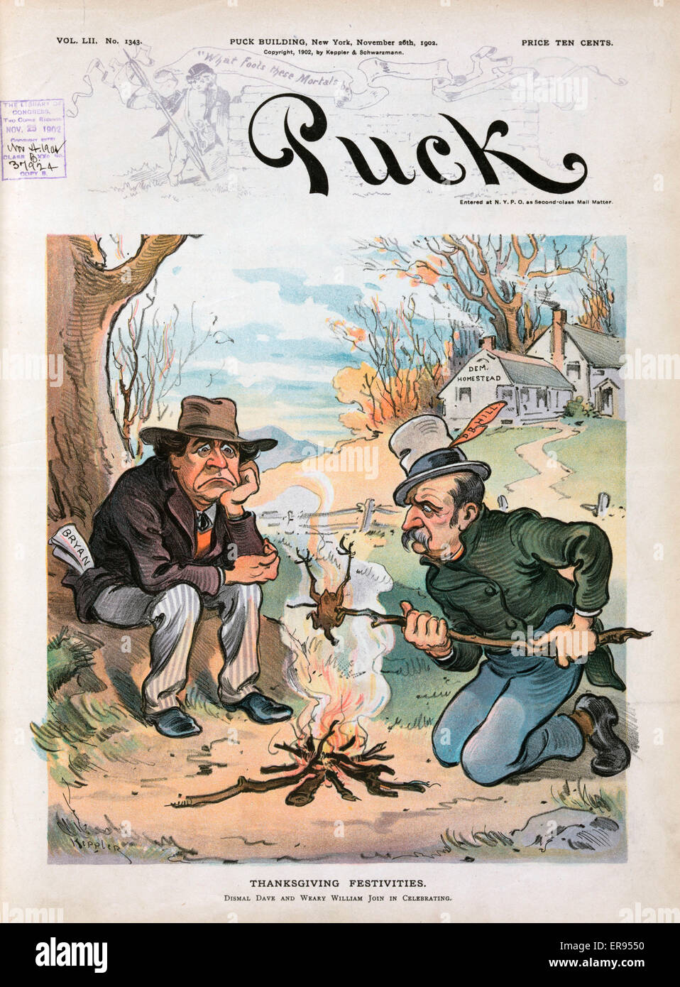 Thanksgiving festivities. Illustration shows William Jennings Bryan and David B. Hill roasting a bird over a campfire - Stock Image