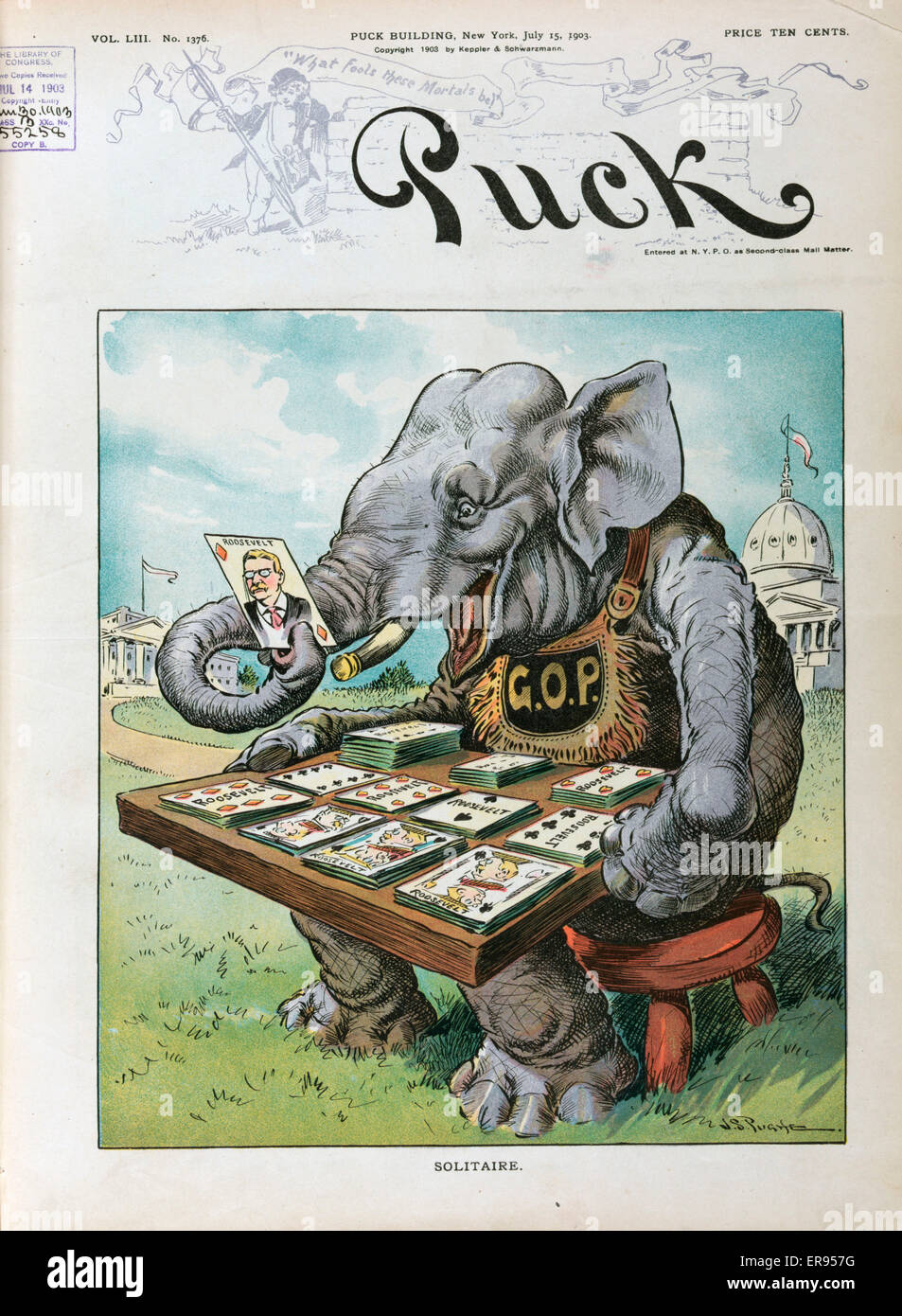 Solitaire. Illustration shows the Republican elephant labeled GOP. sitting on a stool with the US Capitol and the - Stock Image