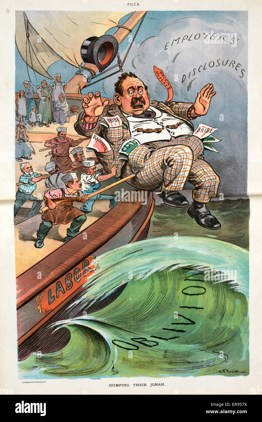 Dumping their Jonah. Illustration shows a ship labeled Labor sailing into dark clouds labeled Employers' Disclosures - Stock Image