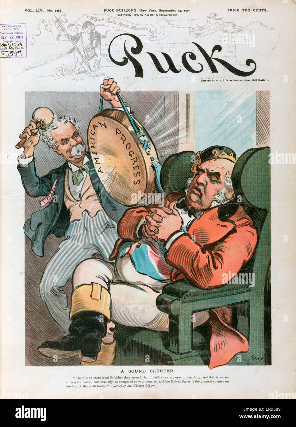 A sound sleeper. Illustration shows Sir Thomas Lipton beating a hand-drum labeled American Progress, trying to wake - Stock Image