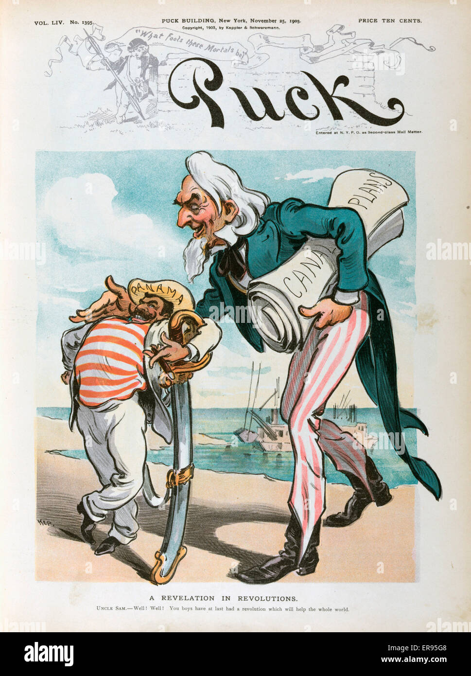 A revelation in revolutions. Illustration shows Uncle Sam with a bundle of papers labeled Canal Plans patting a - Stock Image