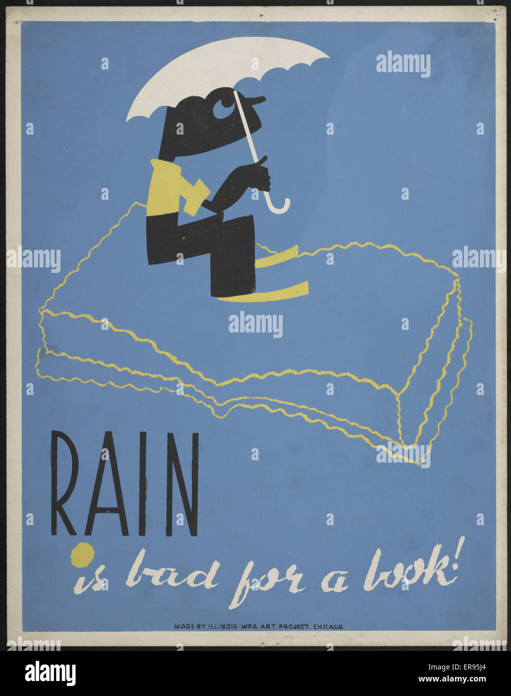 Rain is bad for a book!. WPA poster shows a boy with an umbrella sitting on an open book. Date between 1936 and - Stock Image