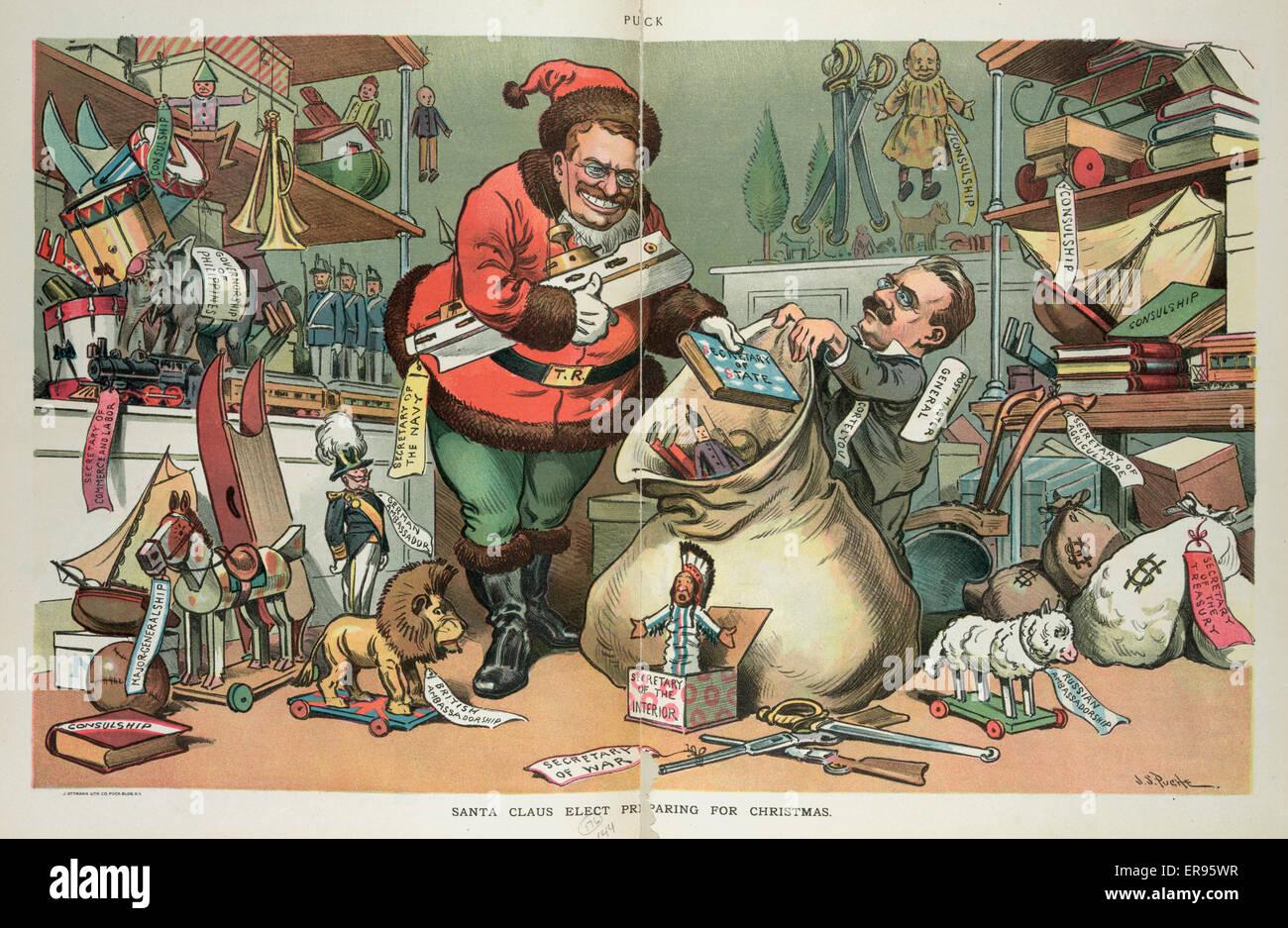 Santa Claus elect preparing for Christmas. Illustration shows Stock ...
