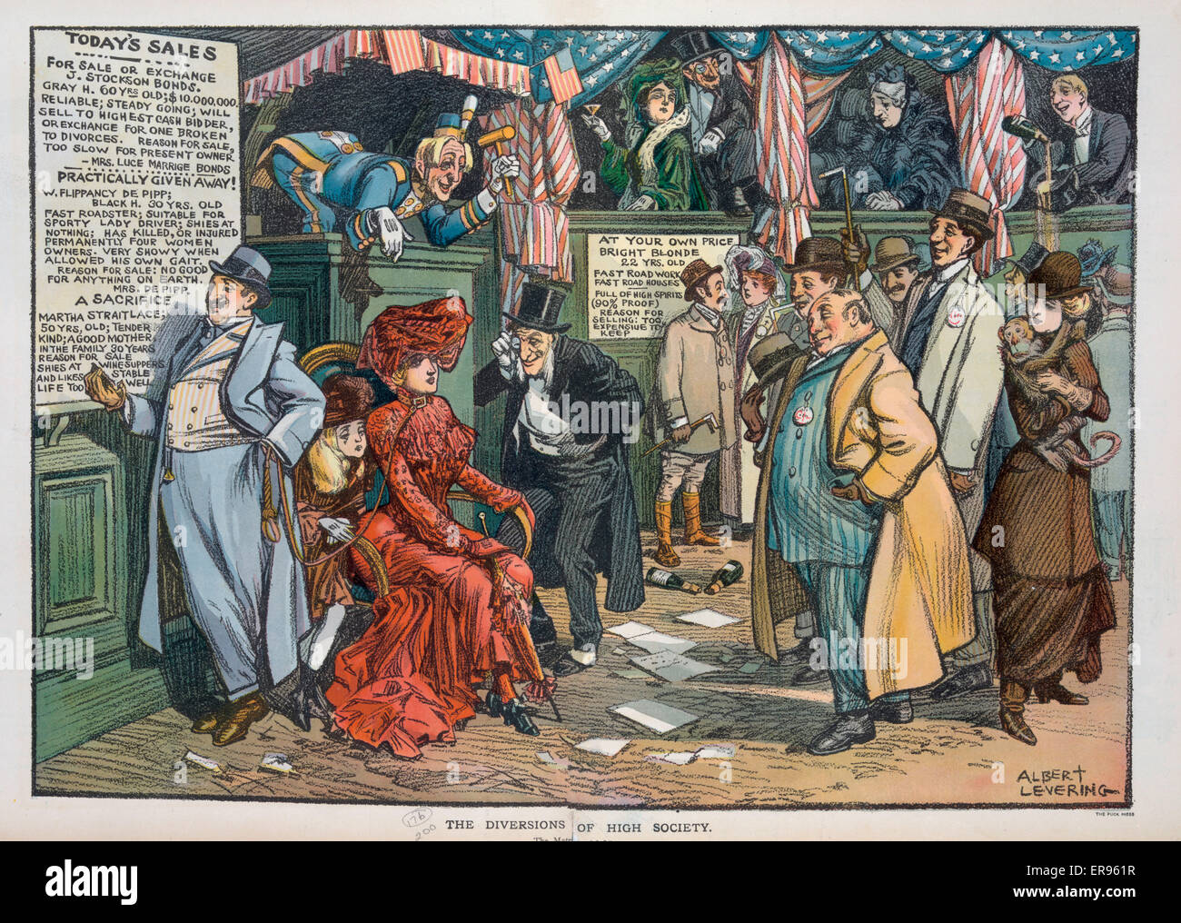 The diversions of high society. Illustration shows a high society auction being conducted in a circus-like atmosphere - Stock Image