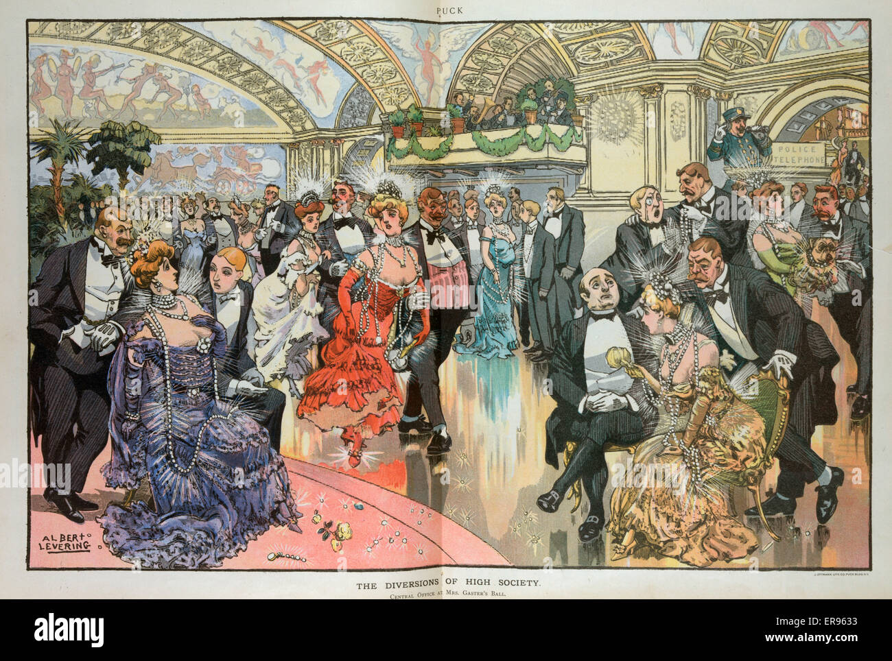 The diversions of high society. Illustration shows a large crowd of men and woman, all wearing formal evening clothes, - Stock Image