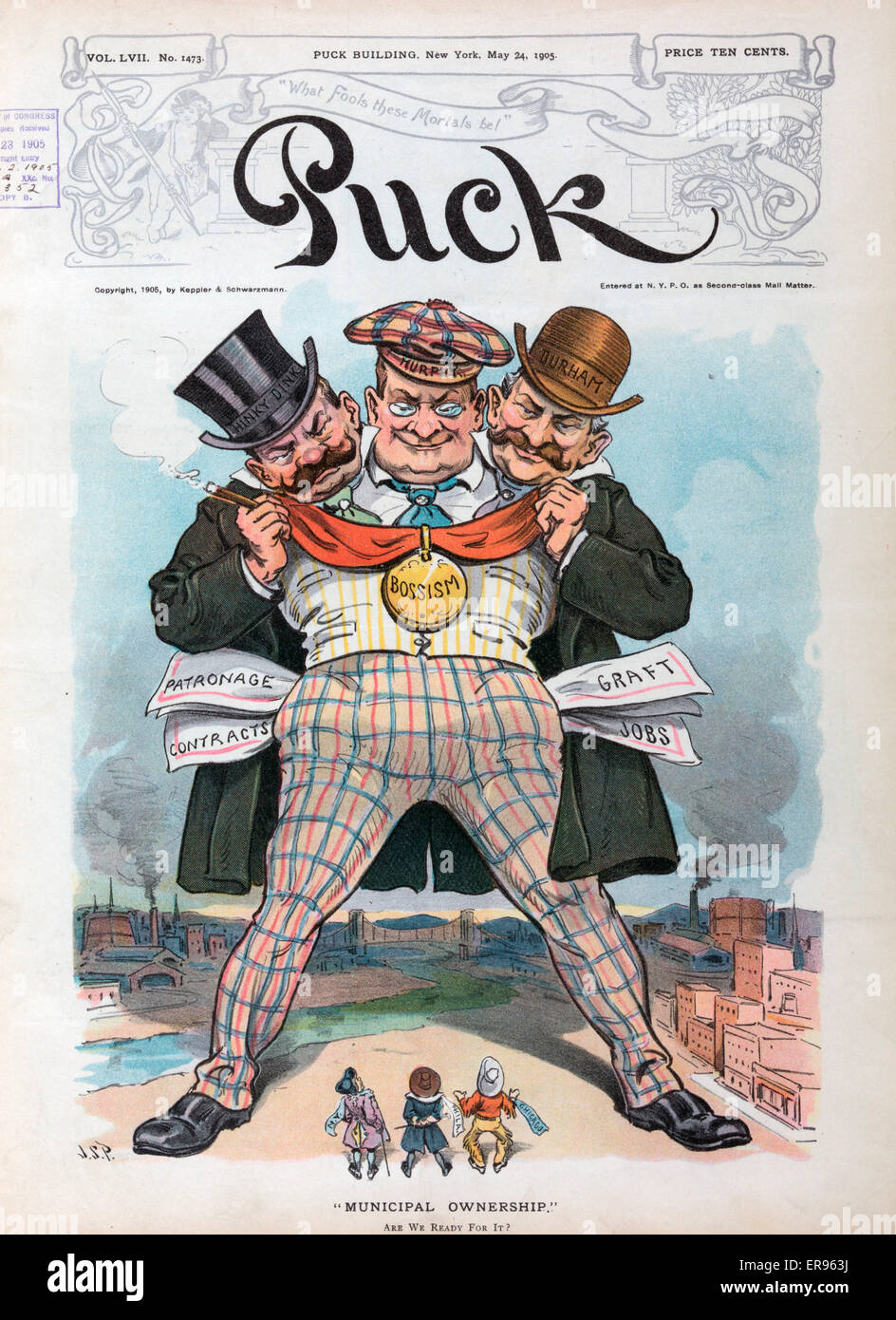 Municipal ownership. Illustration shows the towering figures of Charles F. Murphy, Michael Hinky Dink Kenna, and - Stock Image