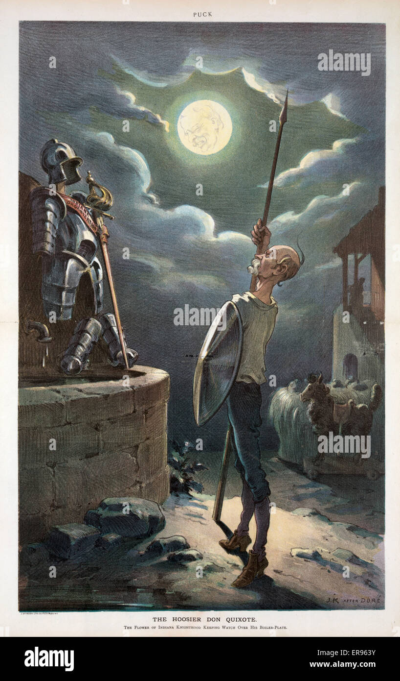The Hoosier Don Quixote. Illustration shows Vice President Charles W. Fairbanks as Don Quixote, he is standing with - Stock Image