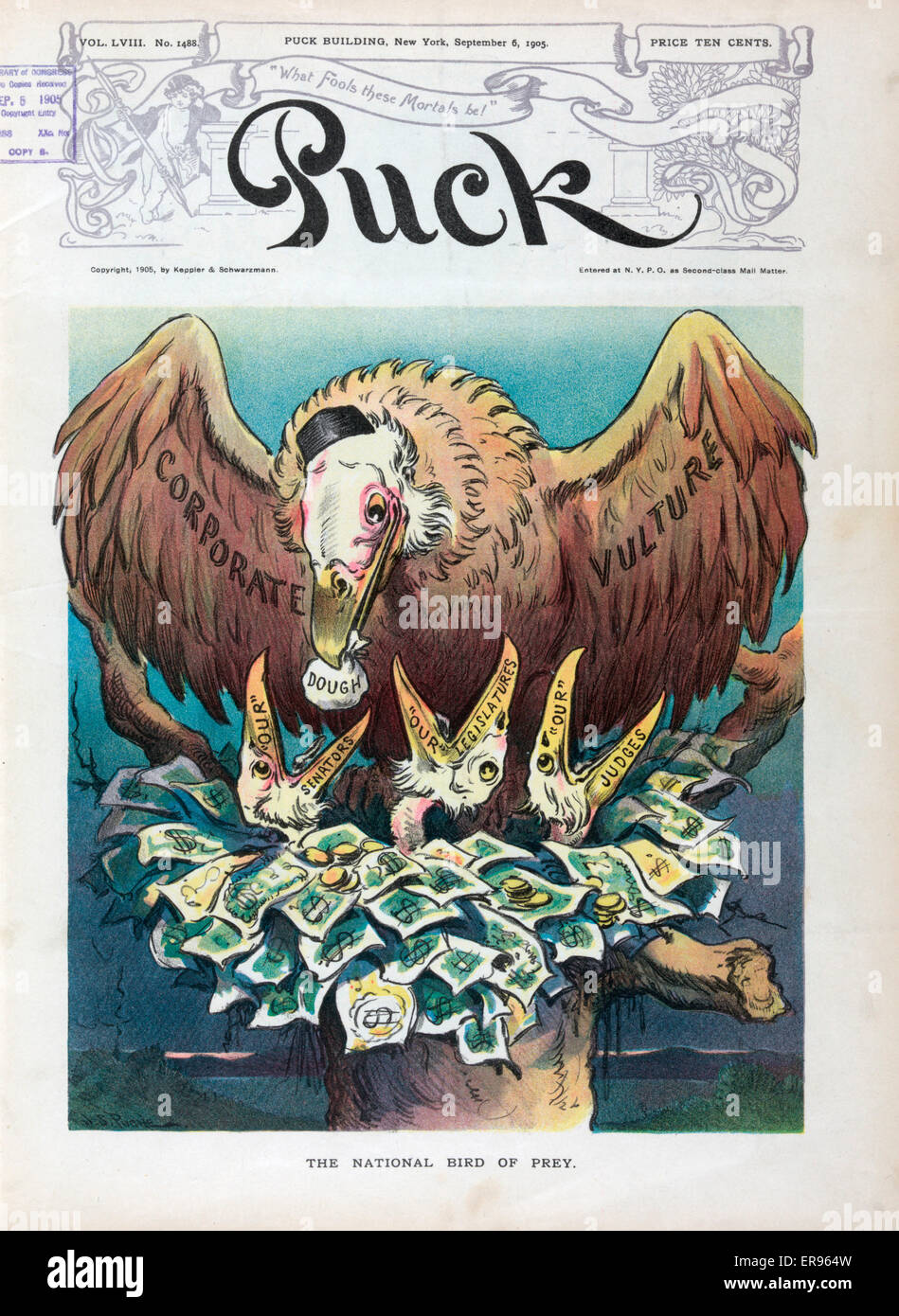 The national bird of prey. Illustration shows a large vulture labeled  Corporate Vulture, wearing a cap usually associated with John D.  Rockefeller, feeding a bag of Dough to a chick labeled 'Our'