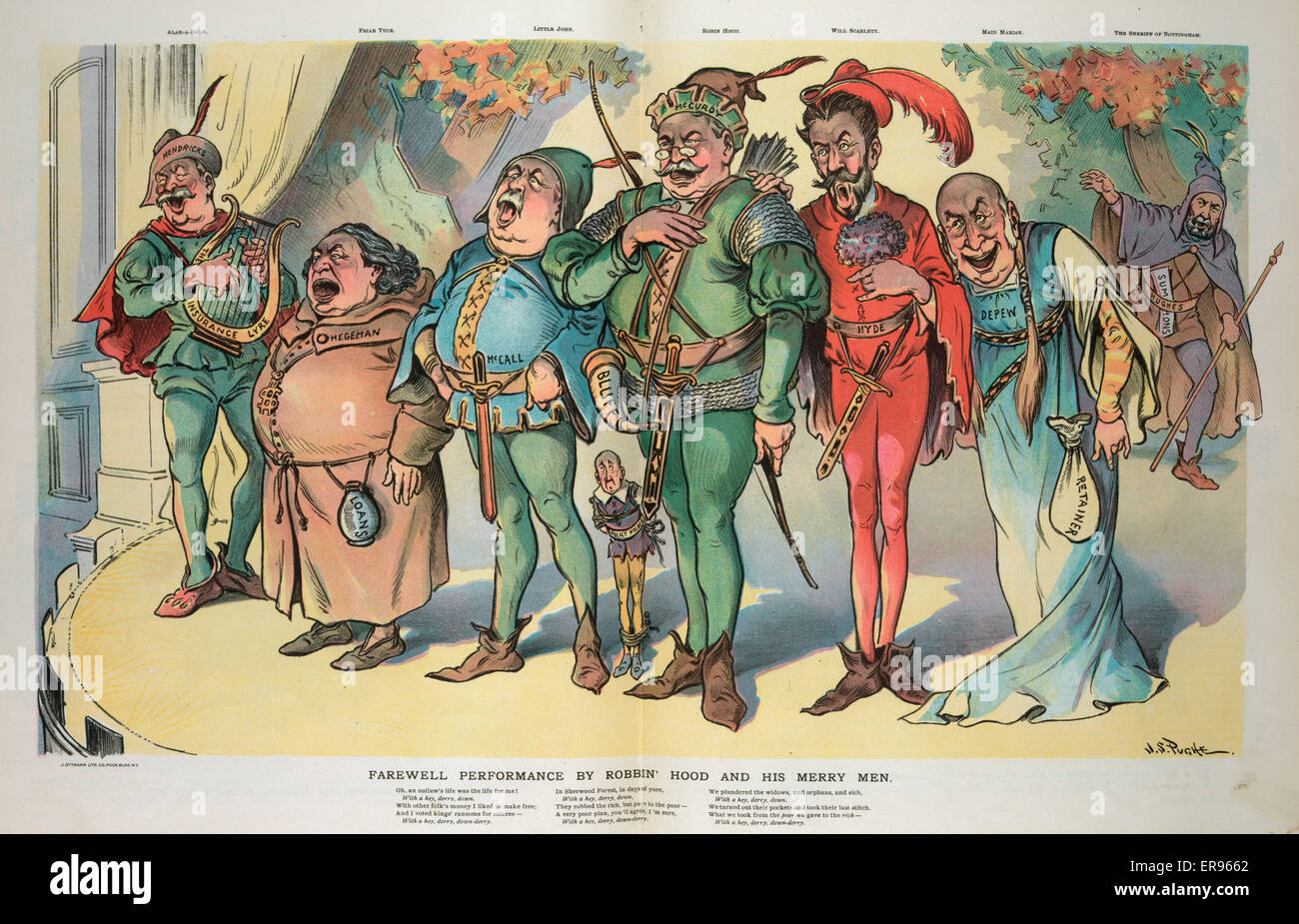 Farewell performance by Robbin' Hood and his merry men. Illustration shows the cast of a theatrical production - Stock Image