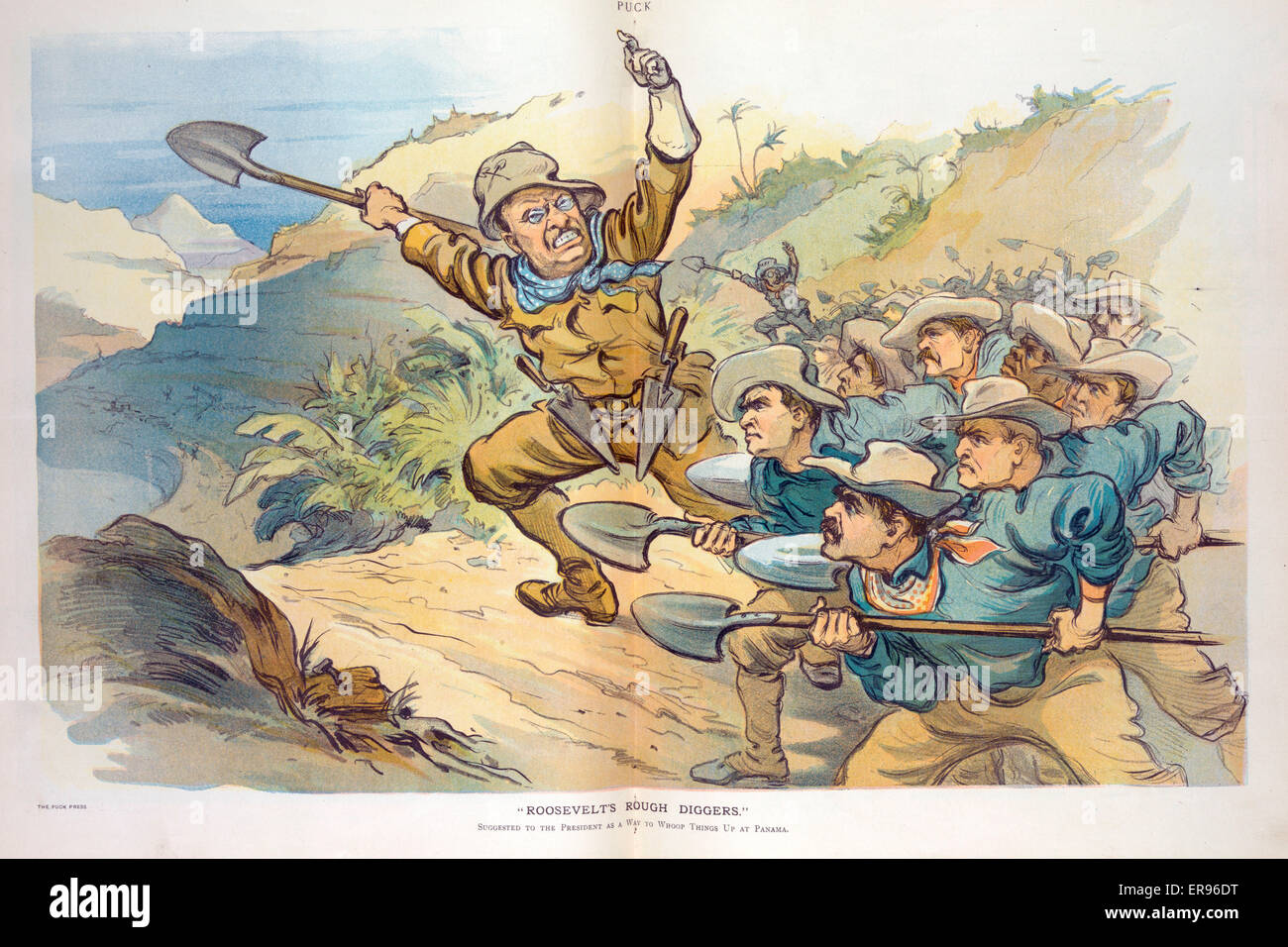 Roosevelt's rough diggers. Illustration shows Theodore Roosevelt, dressed as a Rough Rider, leading a group - Stock Image
