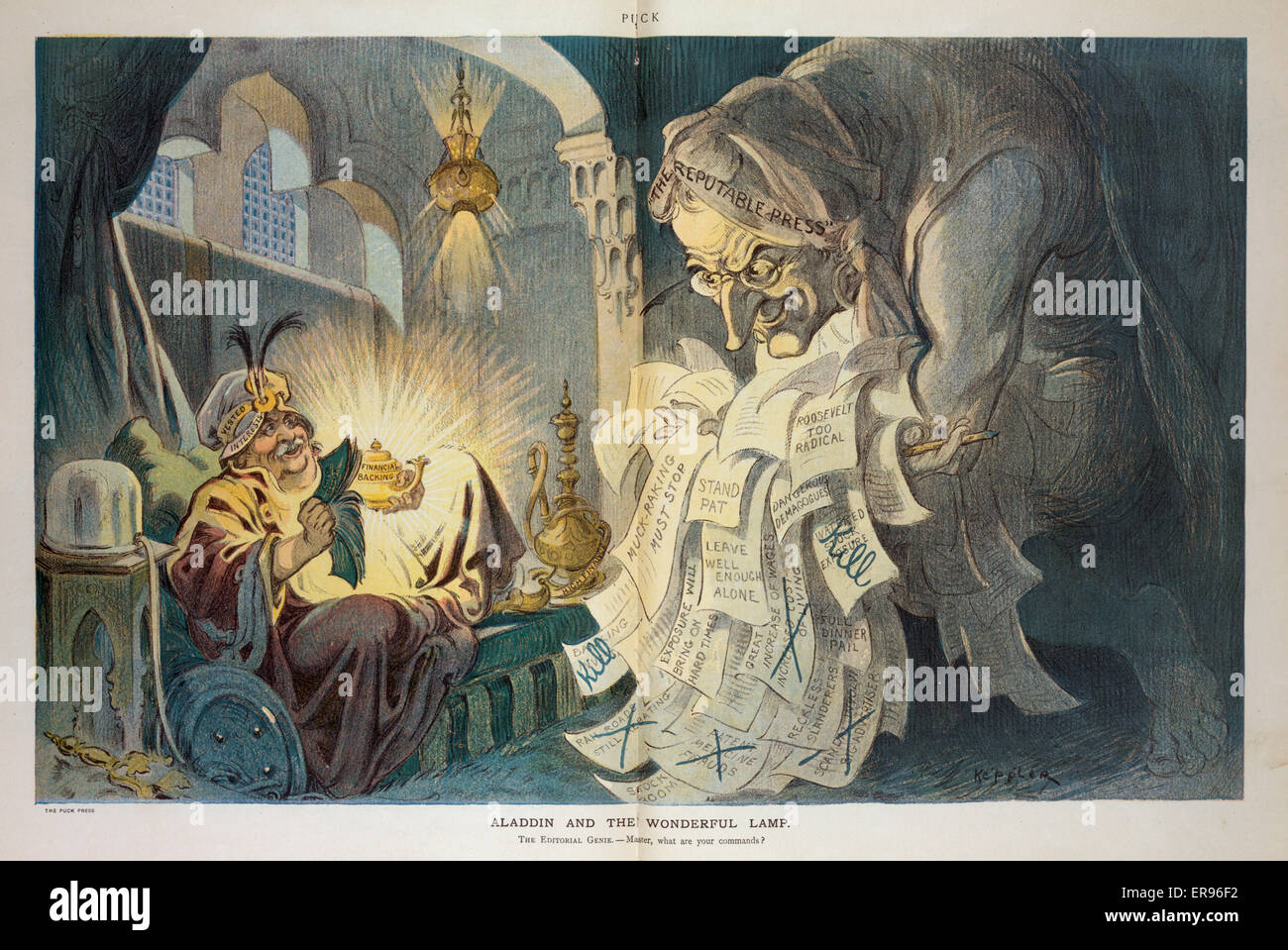 Aladdin and the wonderful lamp. Illustration shows a man seated in an alcove, wearing a hat labeled Vested Interests - Stock Image