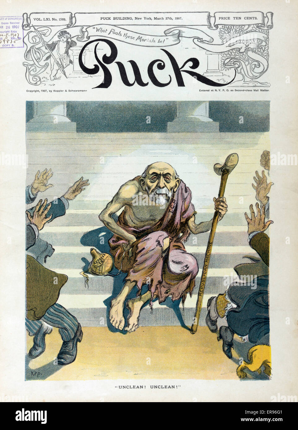 Unclean! Unclean!. Illustration shows an old man labeled TCP. (Thomas Collier Platt) wearing ragged clothing and - Stock Image