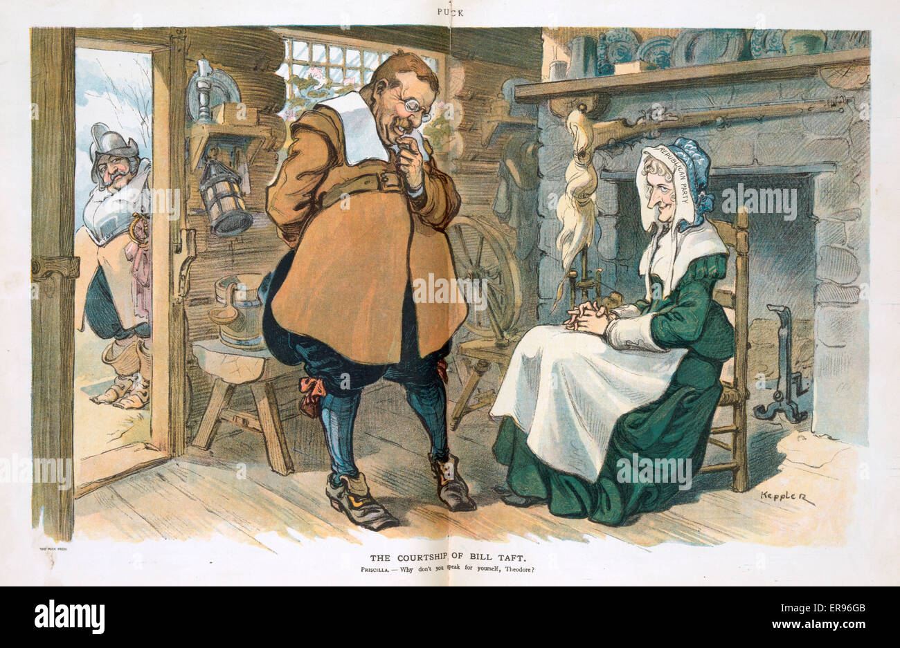 The courtship of Bill Taft. Illustration shows a shy Theodore Roosevelt, as John Alden, talking to Priscilla Mullins - Stock Image