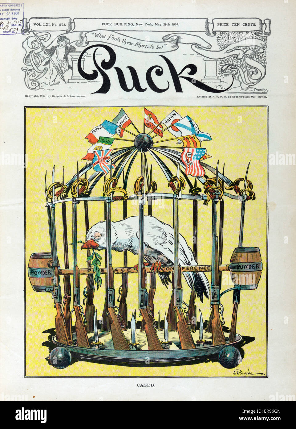 Caged. Illustration shows a sickly looking dove in a birdcage fashioned from rifles and swords, with Powder kegs - Stock Image