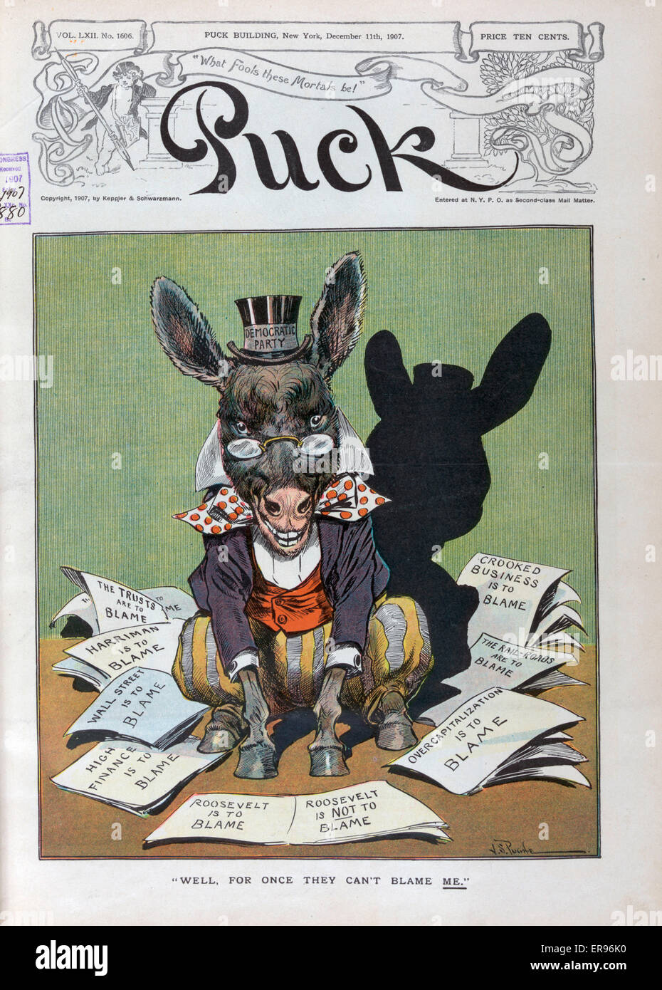 Well, for once they can't blame me. Illustration shows the Democratic donkey labeled Democratic Party sitting - Stock Image