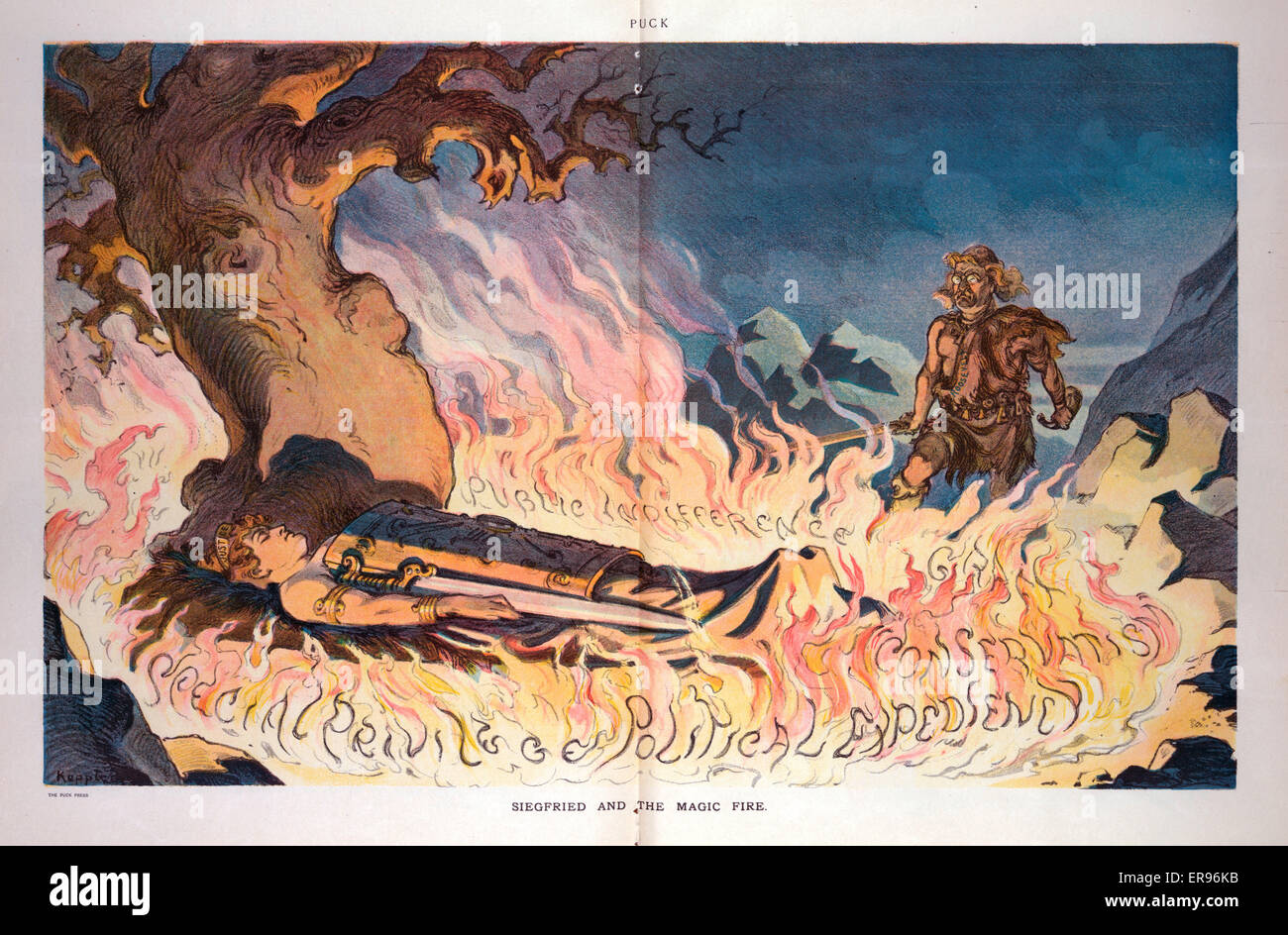 Siegfried and the magic fire. Illustration shows Theodore Roosevelt as Siegfried standing at the edge of a ring - Stock Image