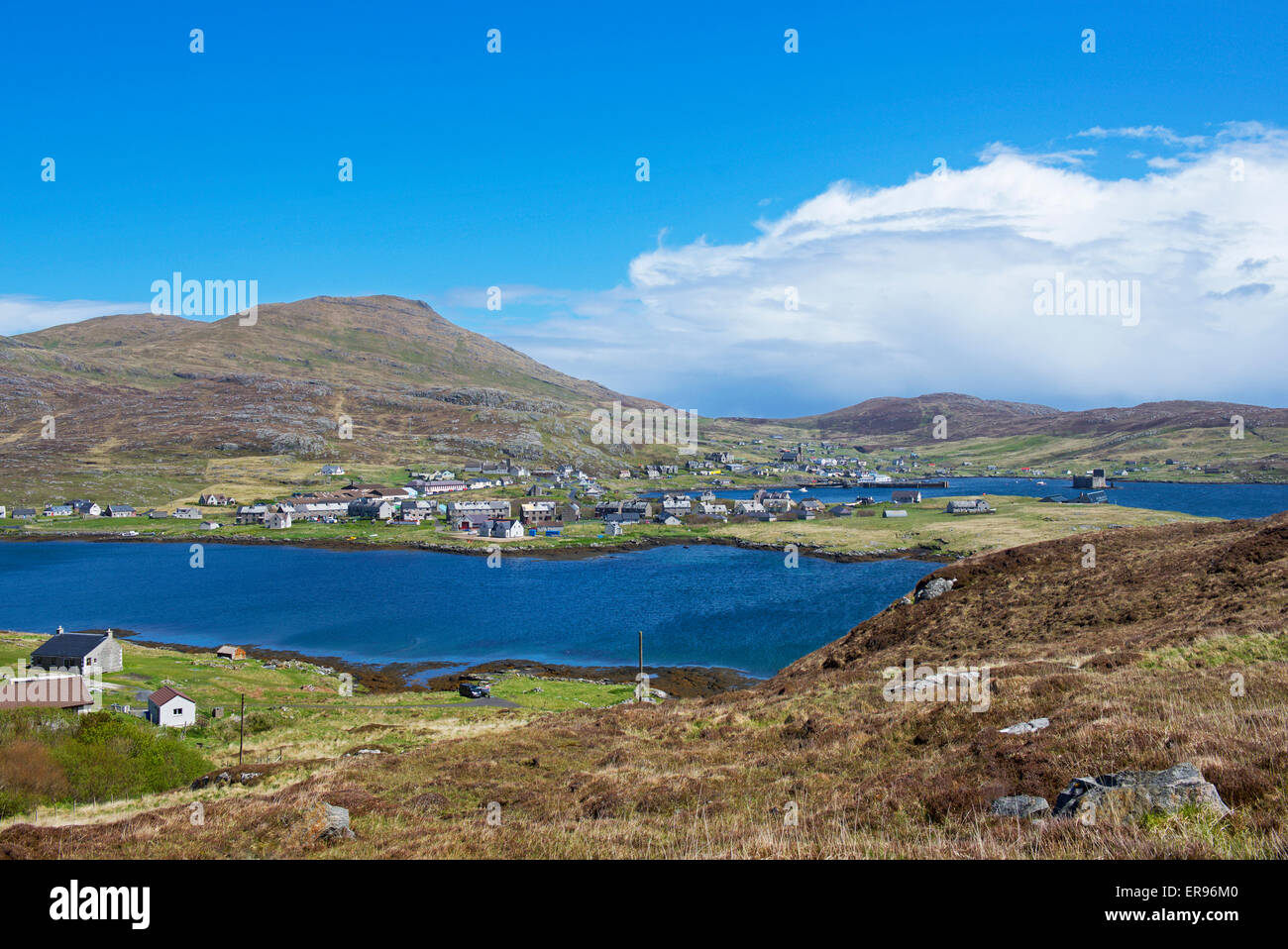 Castlebay, and hill, Heaval, Isle of Barra, Outer Hebrides, Scotland UK (taken from Vatersay) - Stock Image