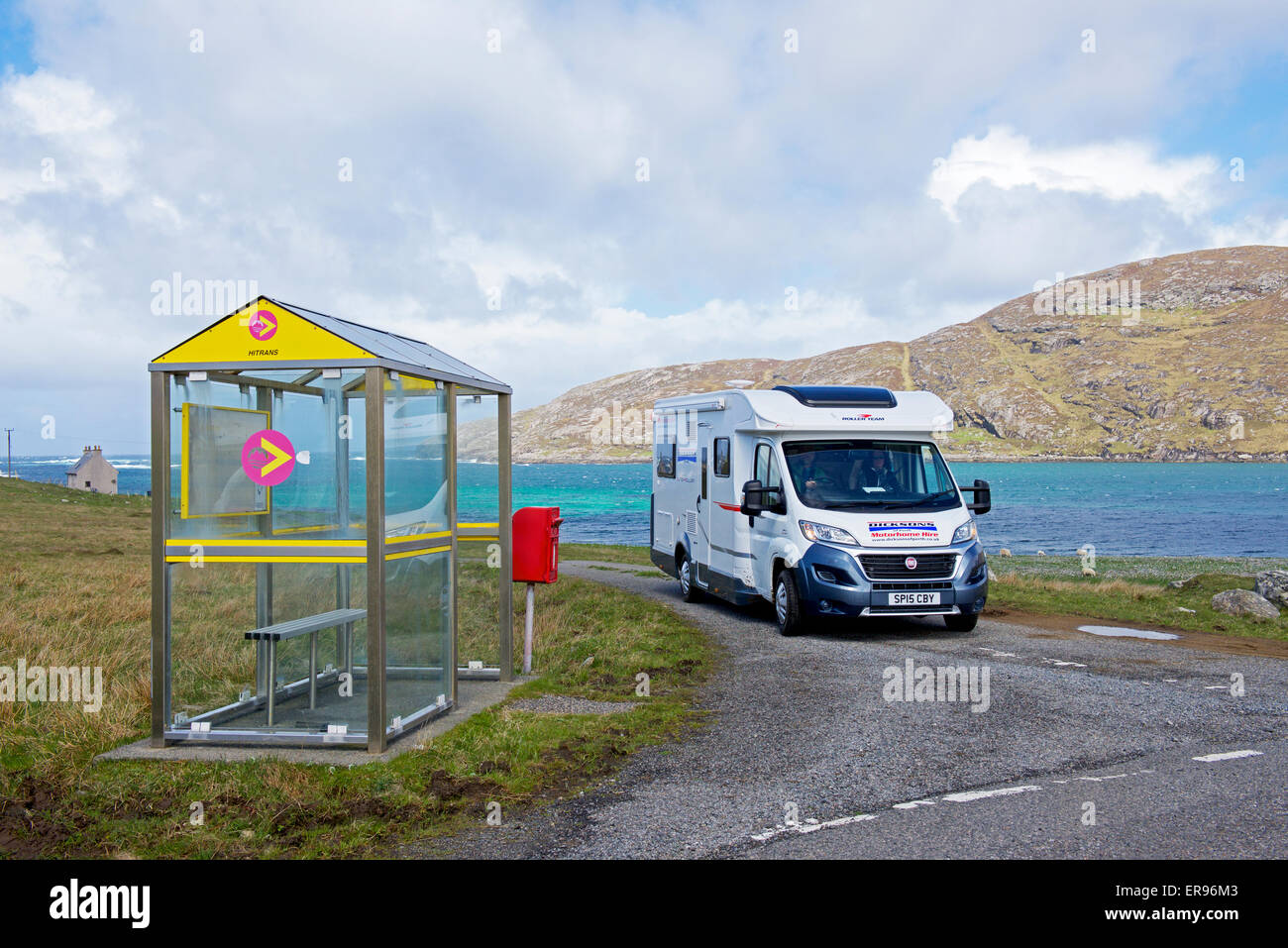 Motorhome and bus stop, Vatersay, Isle of Barra, Outer Hebrides, Scotland UK - Stock Image