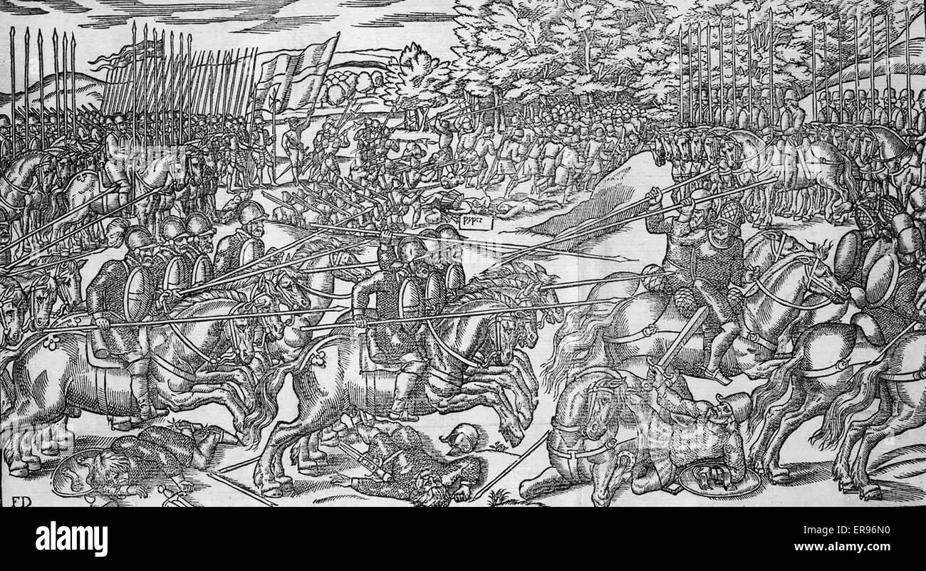 IMAGE OF IRELANDE one of the woodcuts by John Derrick published in London in 1581. The English army under Sir Henry - Stock Image