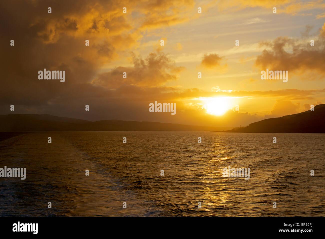 Sunset over the sea, Sound of Mull, Scotland UK - Stock Image