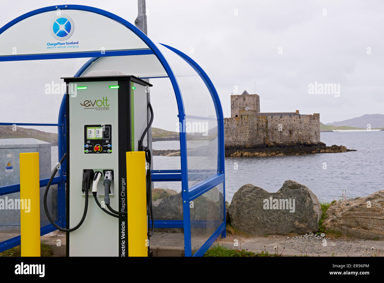Charging point for electric vehicles at Castlebay, on the Isle of Barra, Outer Hebrides, Scotland UK - Stock Image