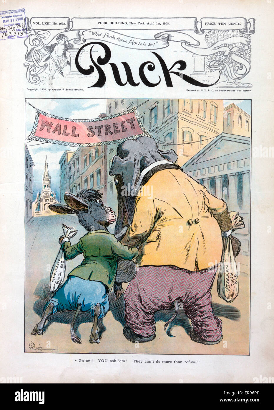 Go on! You ask 'em! They can't do more than refuse. Illustration shows the Democratic donkey carrying the - Stock Image