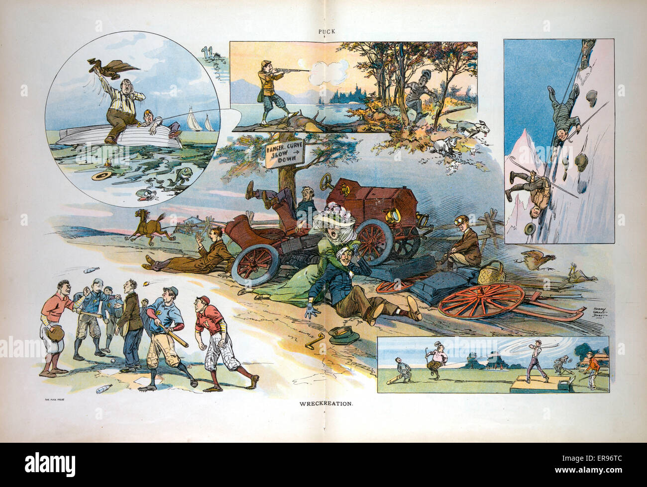 Wreckreation. Illustration shows a vignette cartoon where accidents ...
