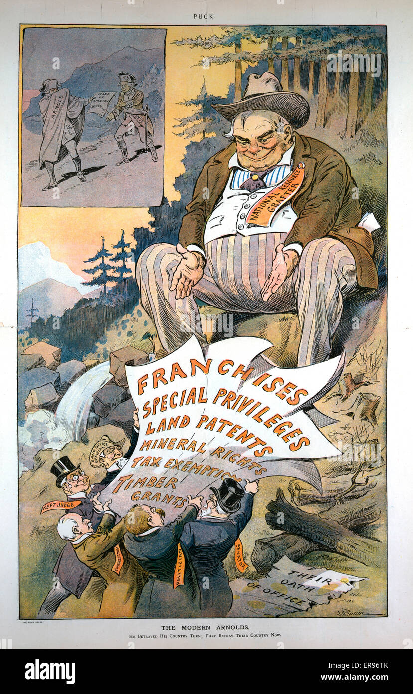 The modern Arnolds. Illustration shows a gigantic man labeled National Resource Grafter sitting in a wilderness - Stock Image