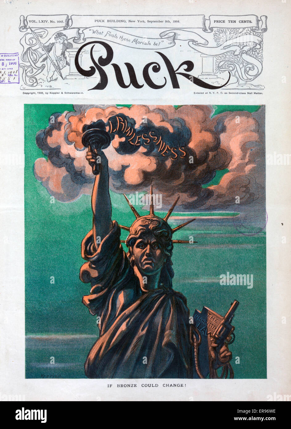 If bronze could change!. Illustration shows an unhappy Statue of Liberty; her torch spewing smoke of Lawlessness, - Stock Image