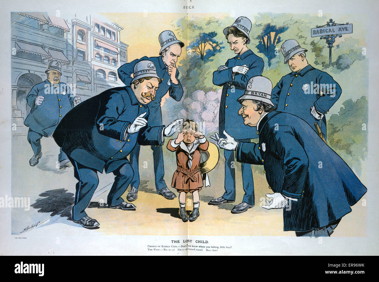 The lost child. Illustration shows six policemen labeled Chafin, Taft, Debs, Watson, Hisgen, and Bryan gathering - Stock Image