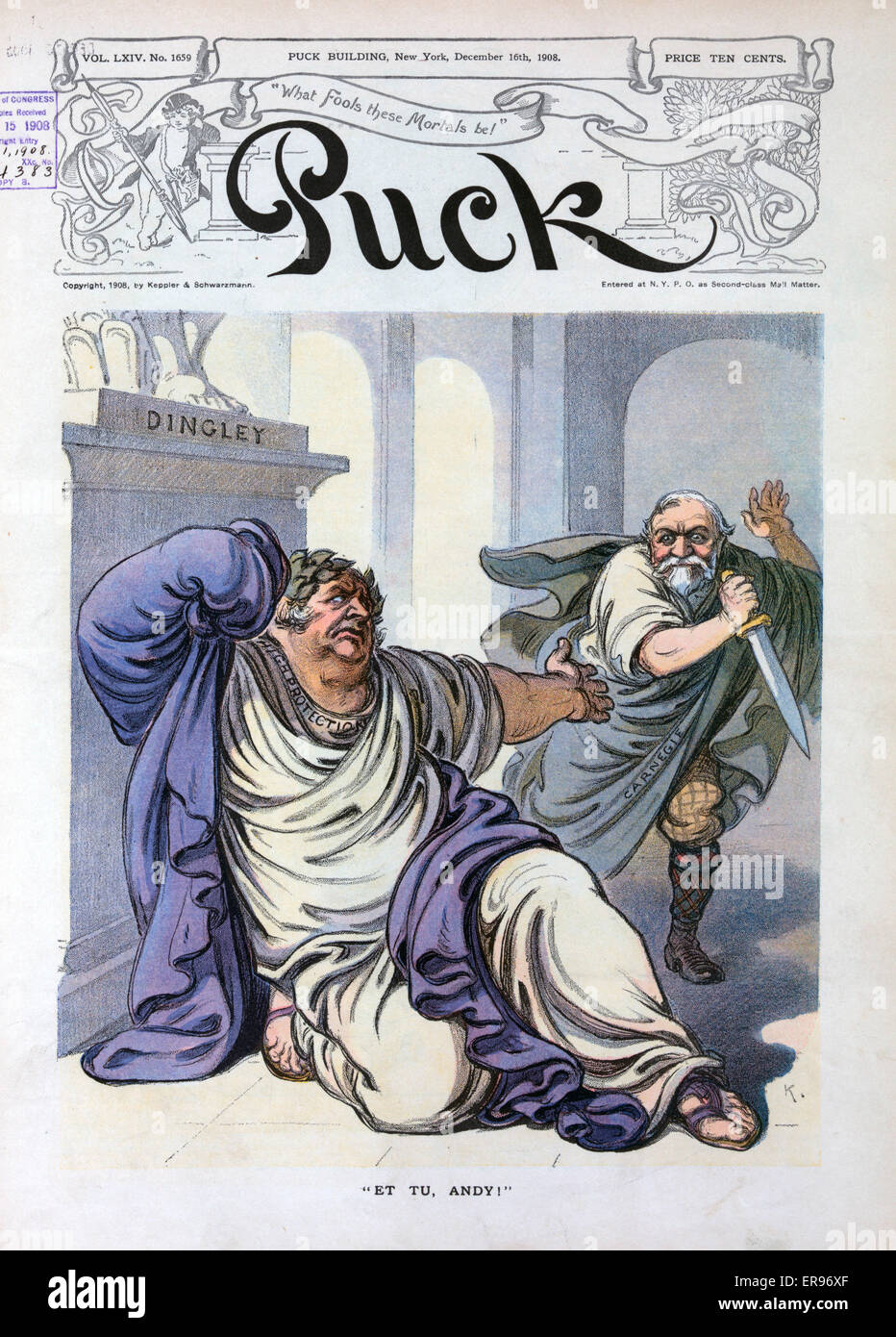 Et tu, Andy!. Illustration shows Andrew Carnegie as Brutus, wearing a Roman toga and holding a large knife with - Stock Image