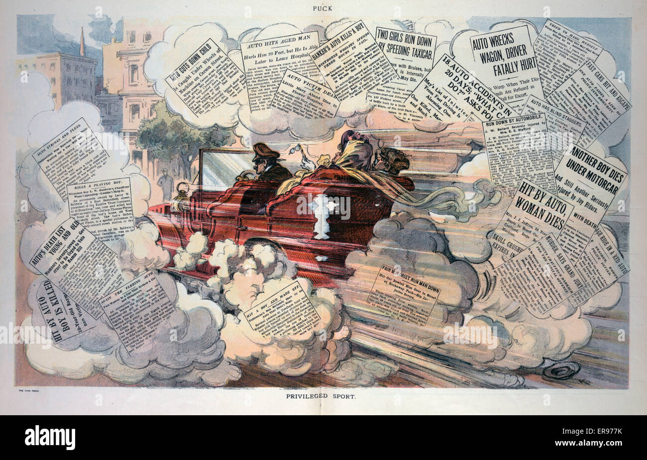 Privileged sport. Illustration shows an automobile driven by a chauffeur speeding down a road, surrounded by newspaper - Stock Image