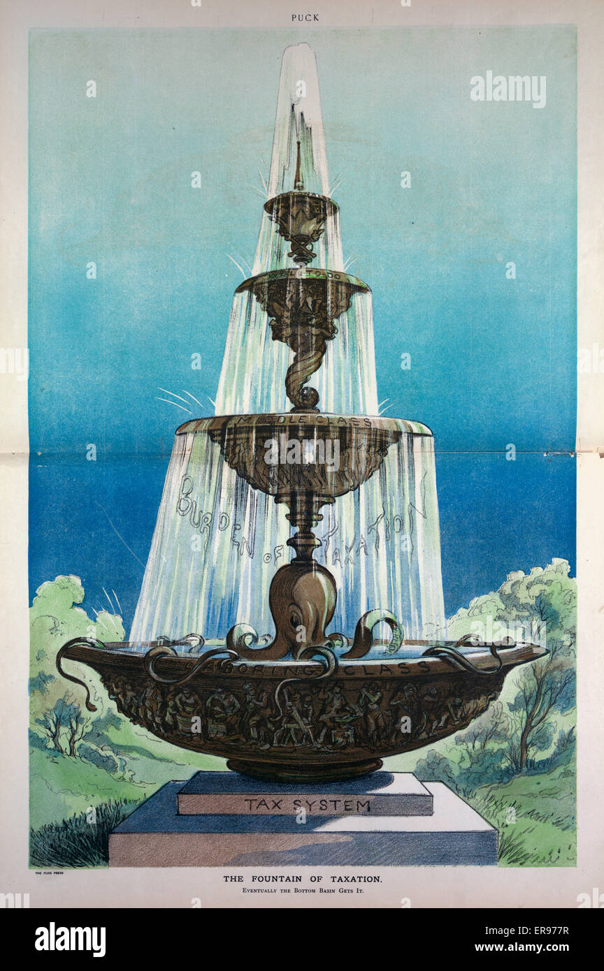 The fountain of taxation. Illustration shows a large fountain with four basins, at top, supported by a crown and - Stock Image