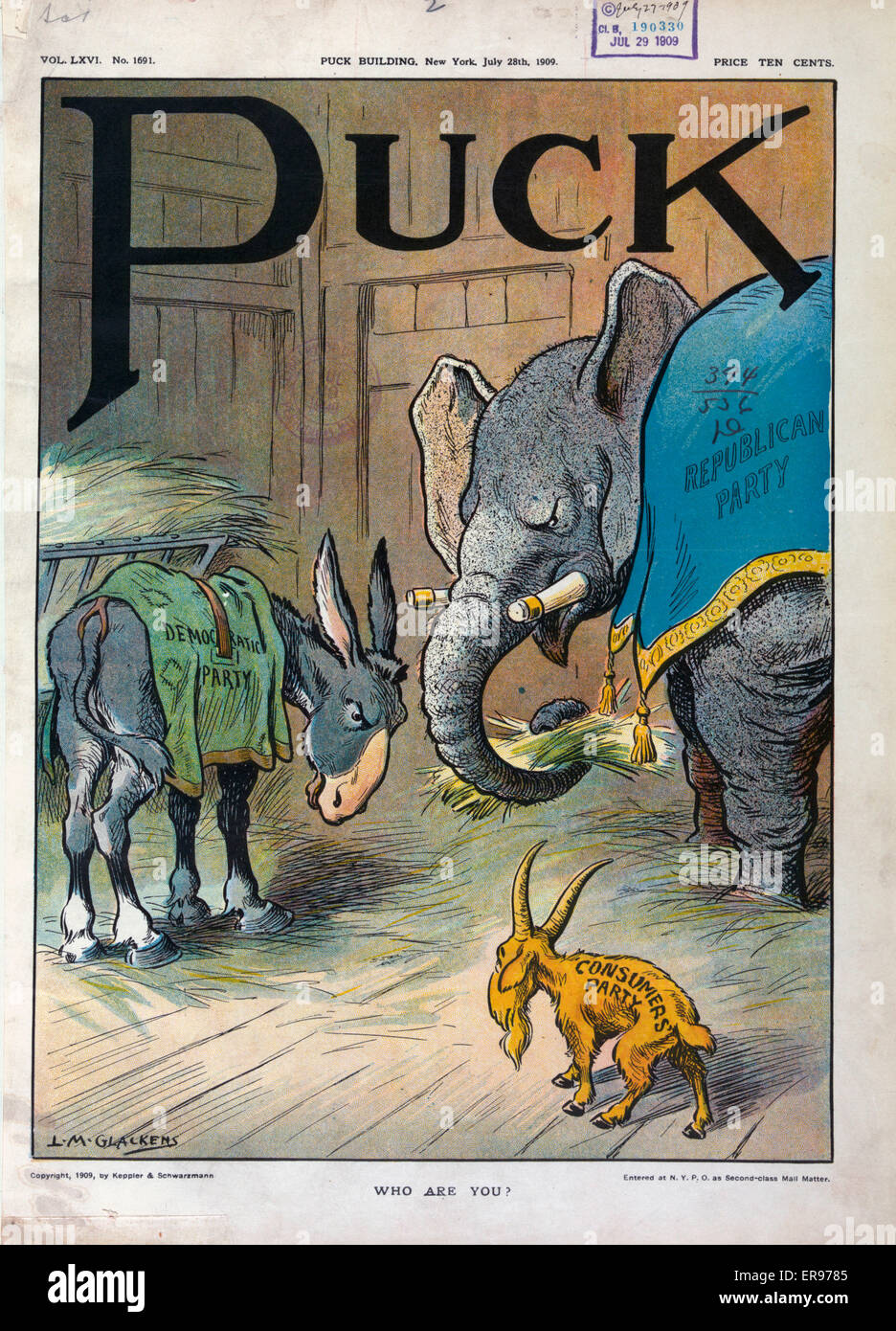 Who are you?. Illustration shows the Democratic donkey and the Republican elephant in a stable eating hay; they - Stock Image