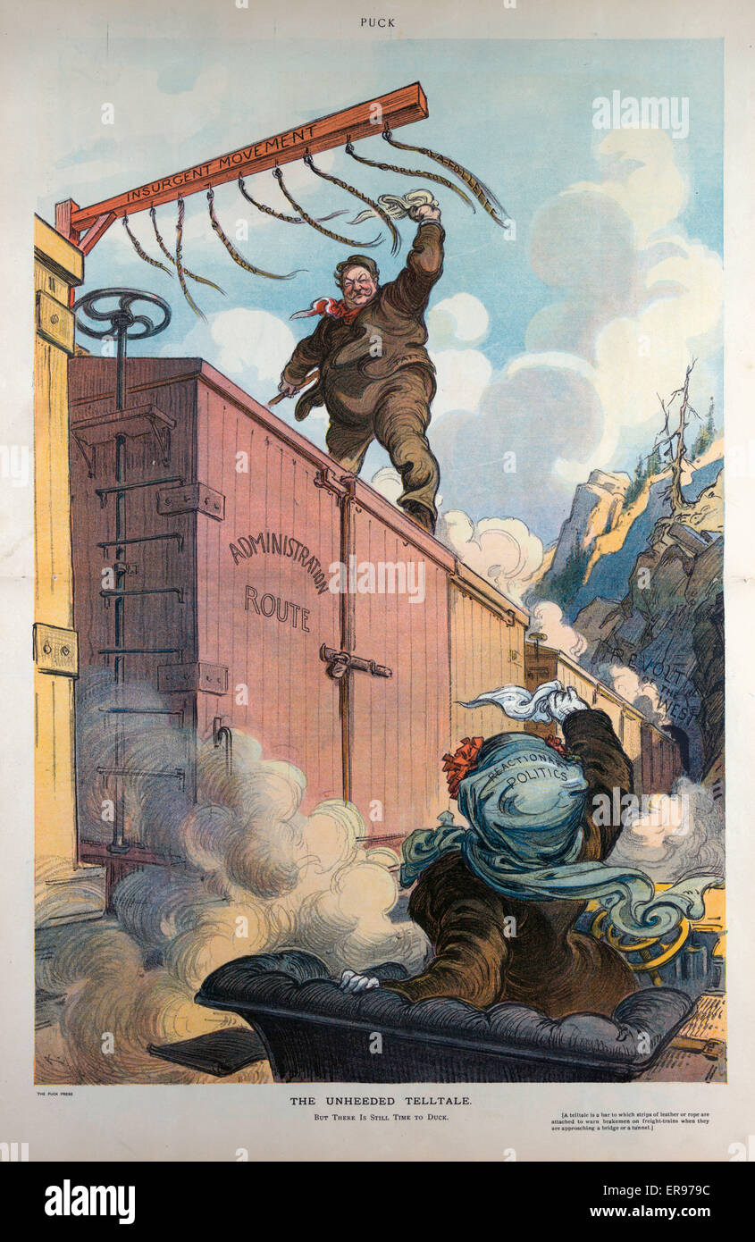 The unheeded telltale. Illustration shows President Taft as a railroad brakeman standing atop a freight car labeled - Stock Image