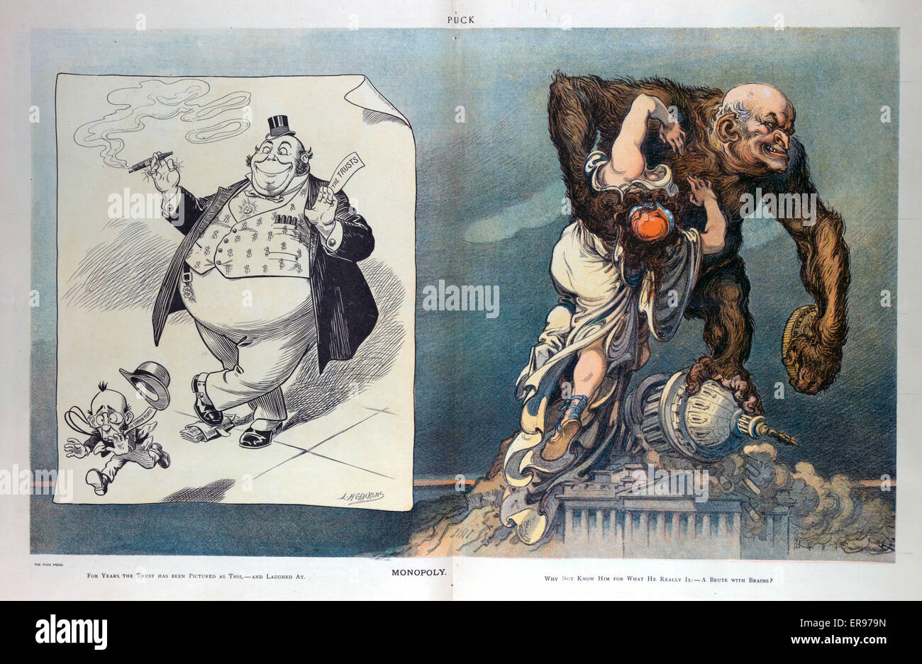 Monopoly. Illustration shows on the left a cartoon drawn by LM Glackens that shows The Trusts as bloated, clownish - Stock Image