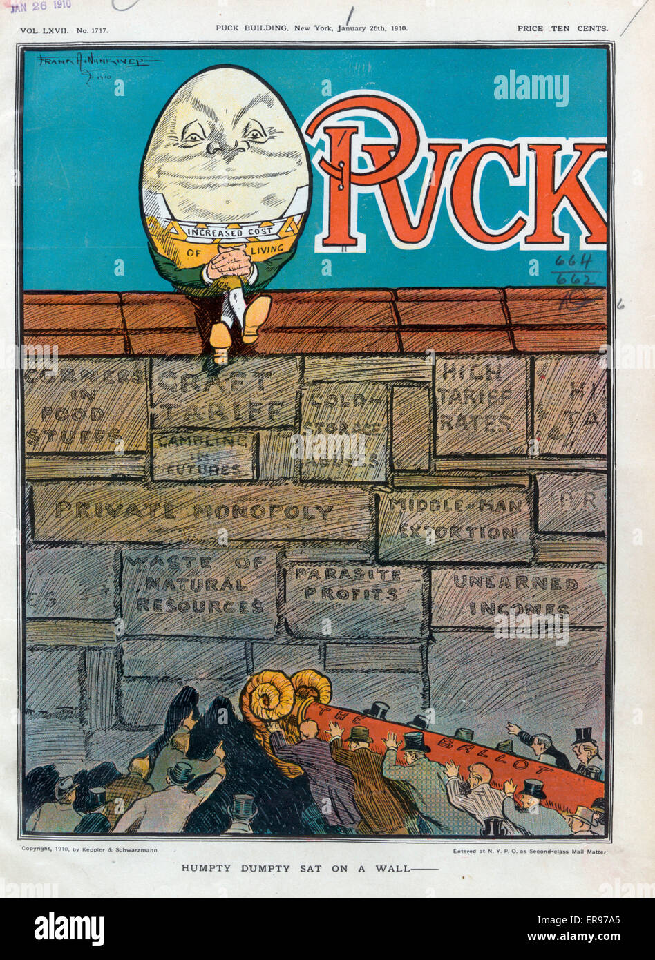 Humpty Dumpty sat on a wall -. Illustration shows a smug-looking Humpty Dumpty labeled Increased Cost of Living Stock Photo