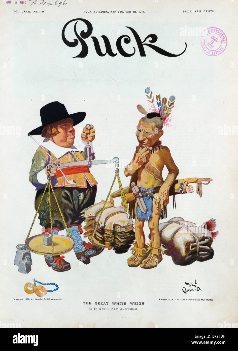 The great white weigh. Illustration shows a Dutchman holding with his left hand balance scales on which are pelts - Stock Image