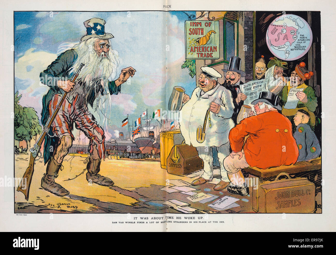 It was about time he woke up. Illustration shows Uncle Sam as Rip Van Winkle returning from his tariff sleep to - Stock Image