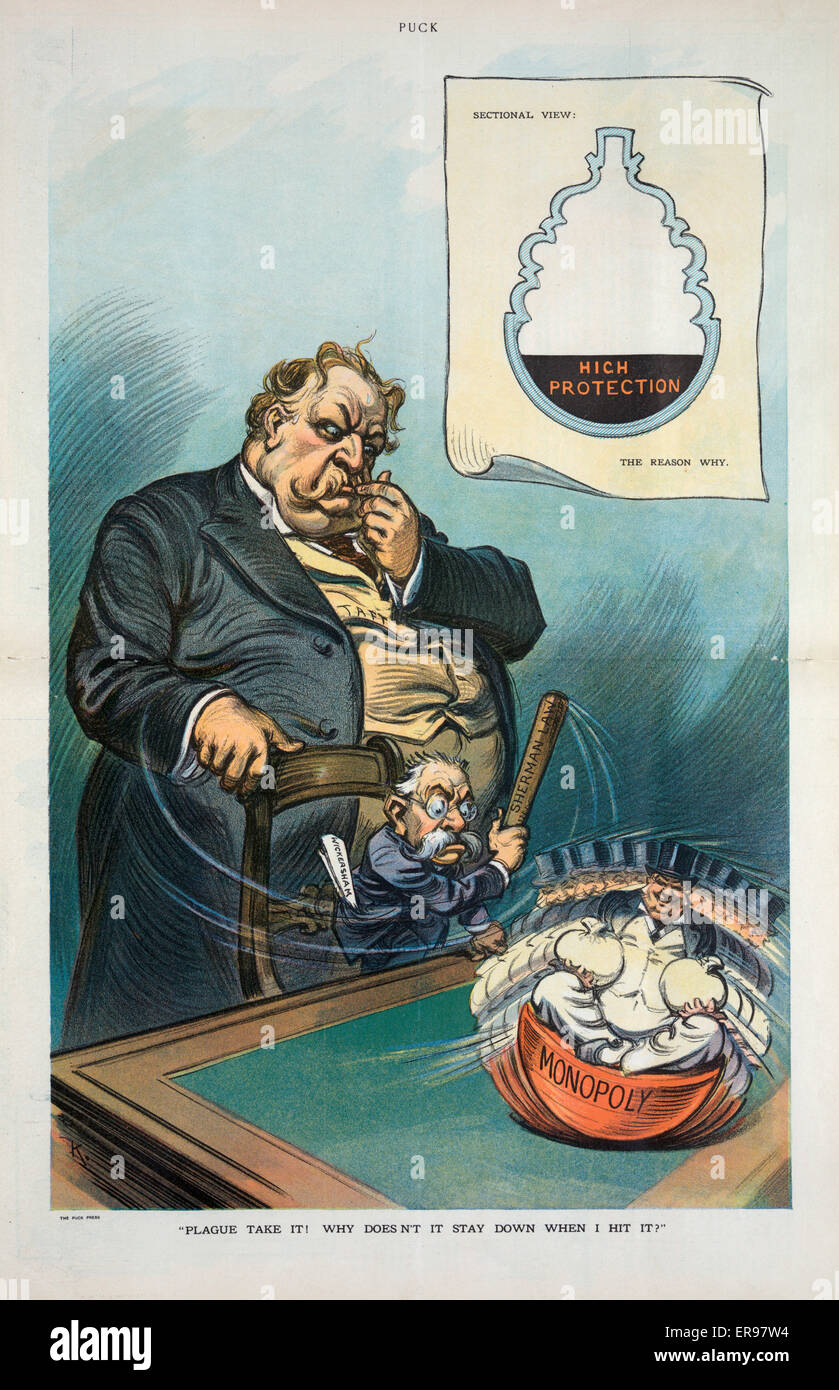 Plague take it! Why doesn't it stay down when I hit it?. Illustration shows President Taft standing behind a - Stock Image