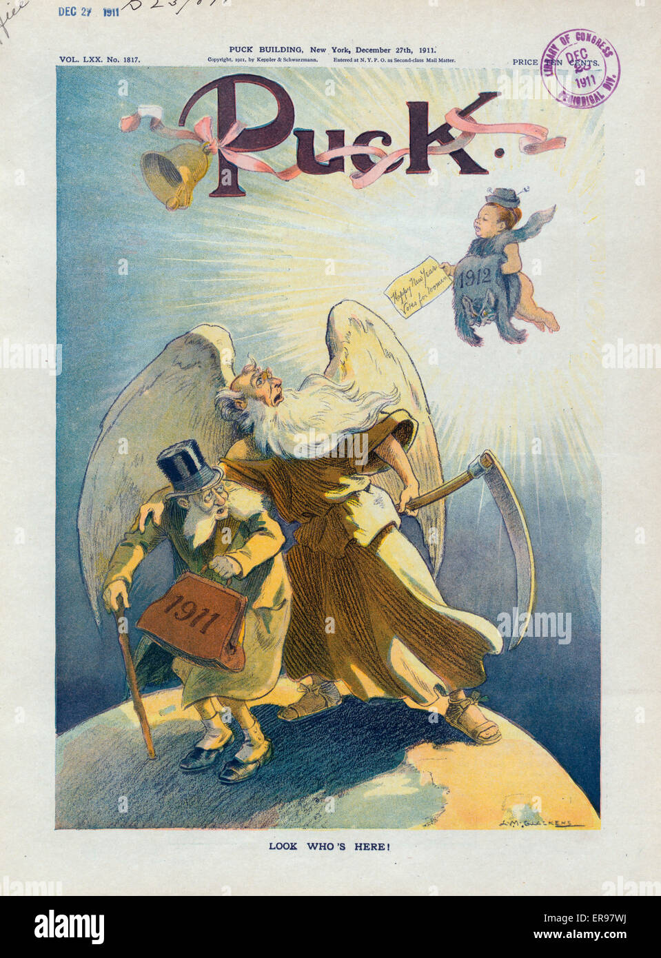 Look who's here!. Illustration shows Father Time as he is ushering out an old man labeled 1911; he is surprised - Stock Image