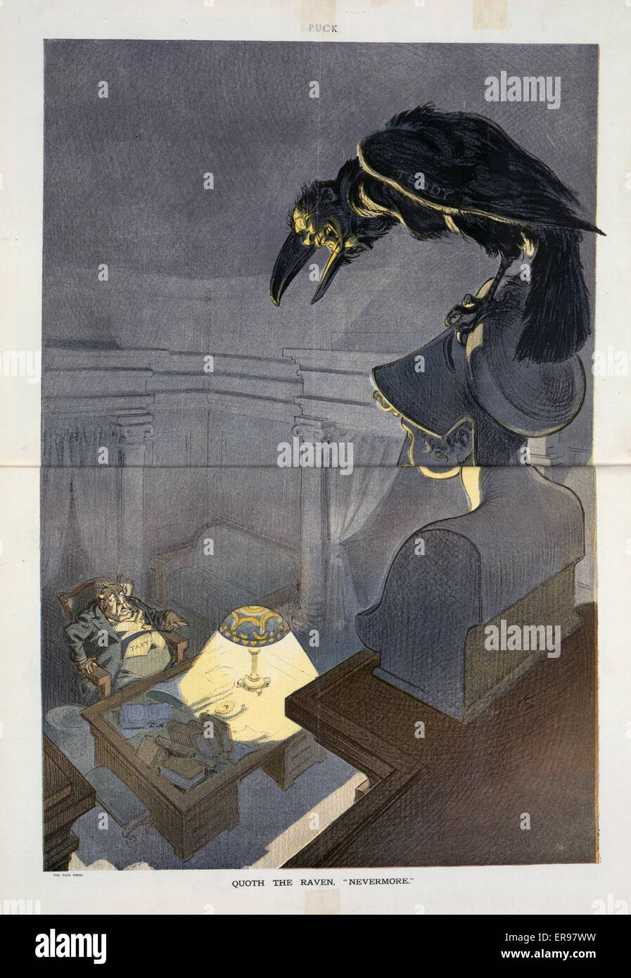 Quoth the raven, nevermore. Illustration shows President Taft sitting at a desk, working late, frightened, his hair Stock Photo