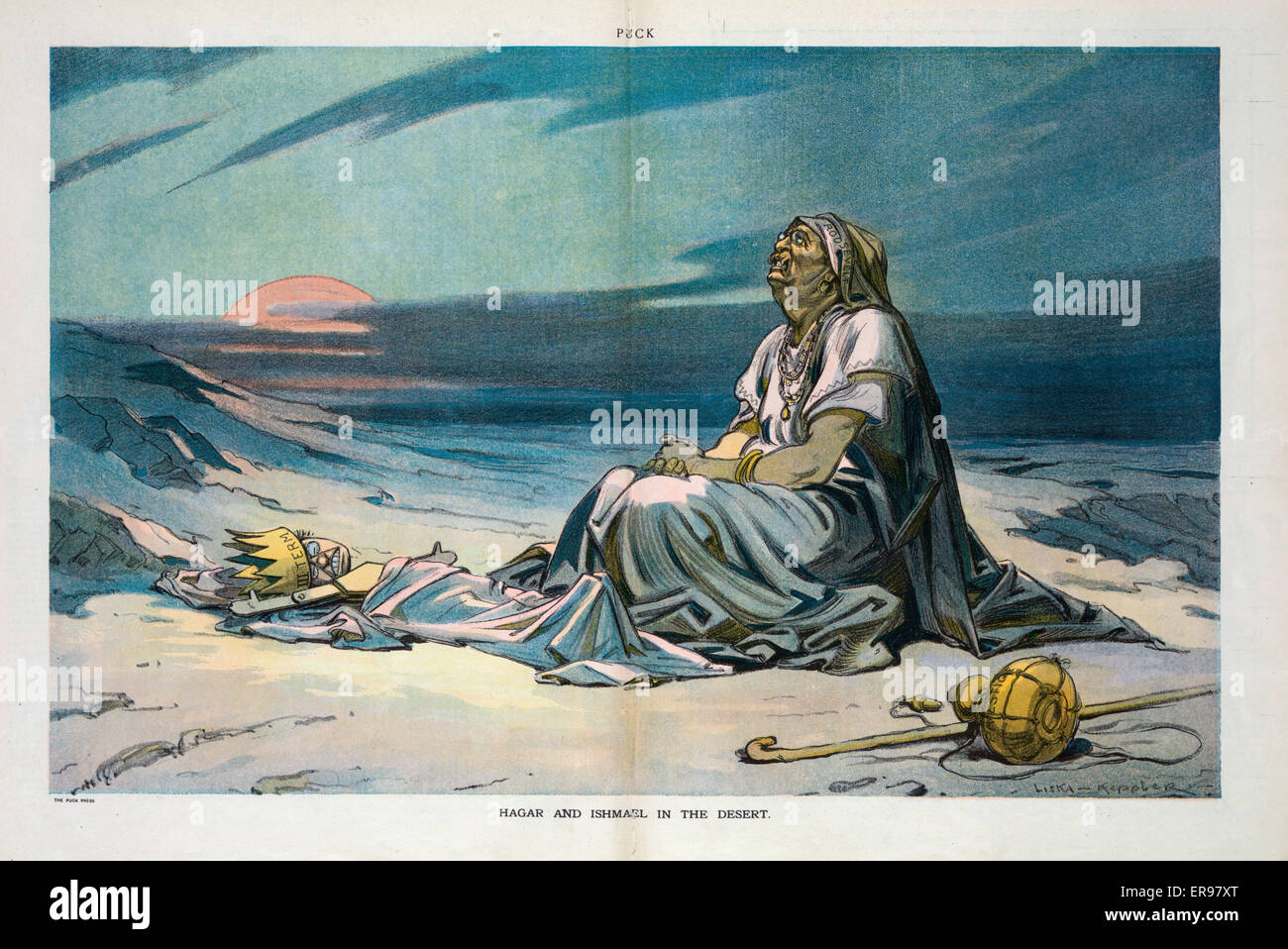 Hagar and Ishmael in the desert. Illustration shows Theodore Roosevelt as  the biblical Hagar in a moment of despair, sitting on the ground next to a  wooden ...