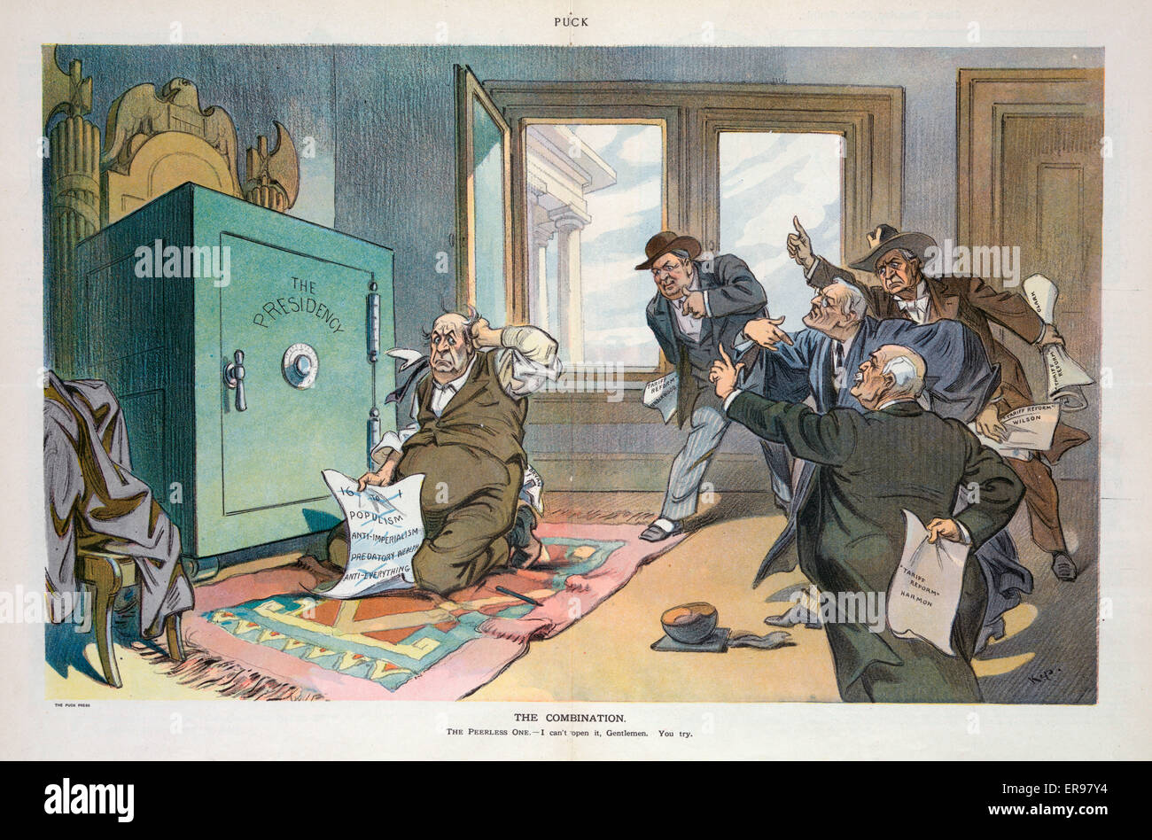 The combination. Illustration shows William Jennings Bryan trying to open a safe labeled The Presidency using a - Stock Image