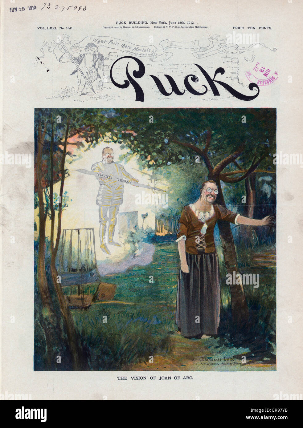 The vision of Joan of Arc. Illustration shows Theodore Roosevelt in a grove of trees, as a young Joan of Arc experiencing - Stock Image