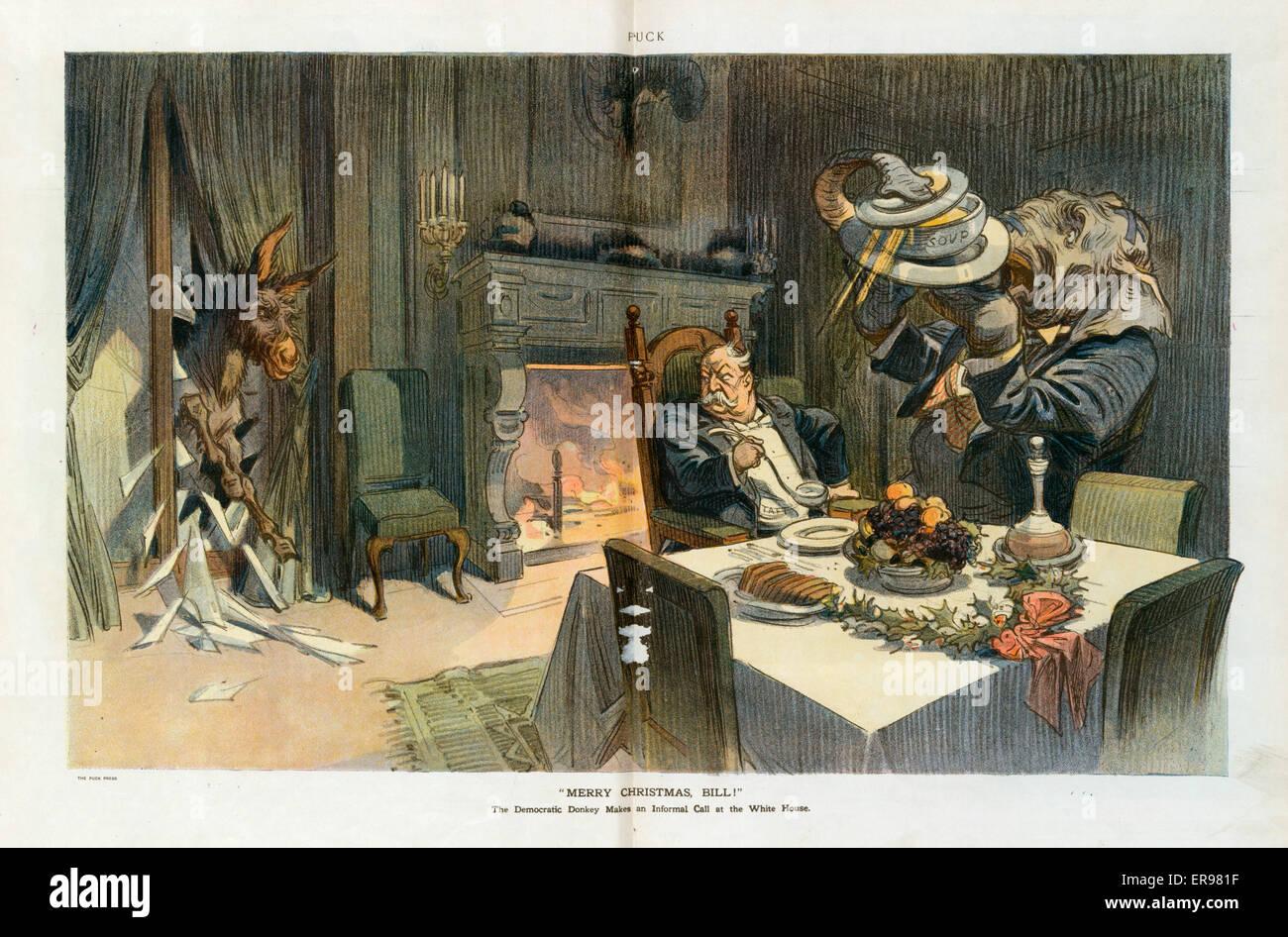 Merry Christmas, Bill!. Illustration shows lame duck president William H. Taft having Christmas dinner at the White - Stock Image