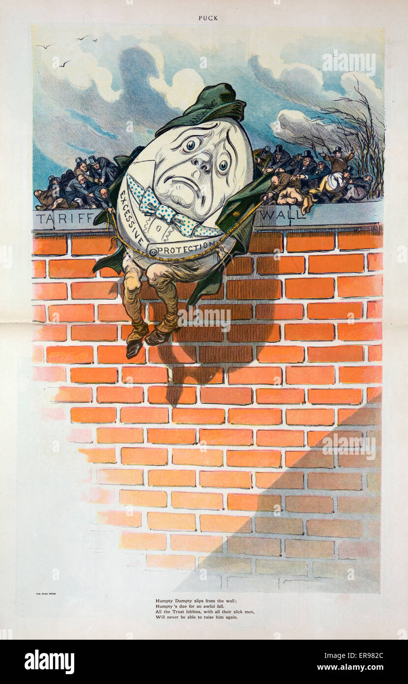 Humpty Dumpty slips from the wall; Humpty's due for an awful fall. Illustration shows Humpty Dumpty labeled Excessive Stock Photo