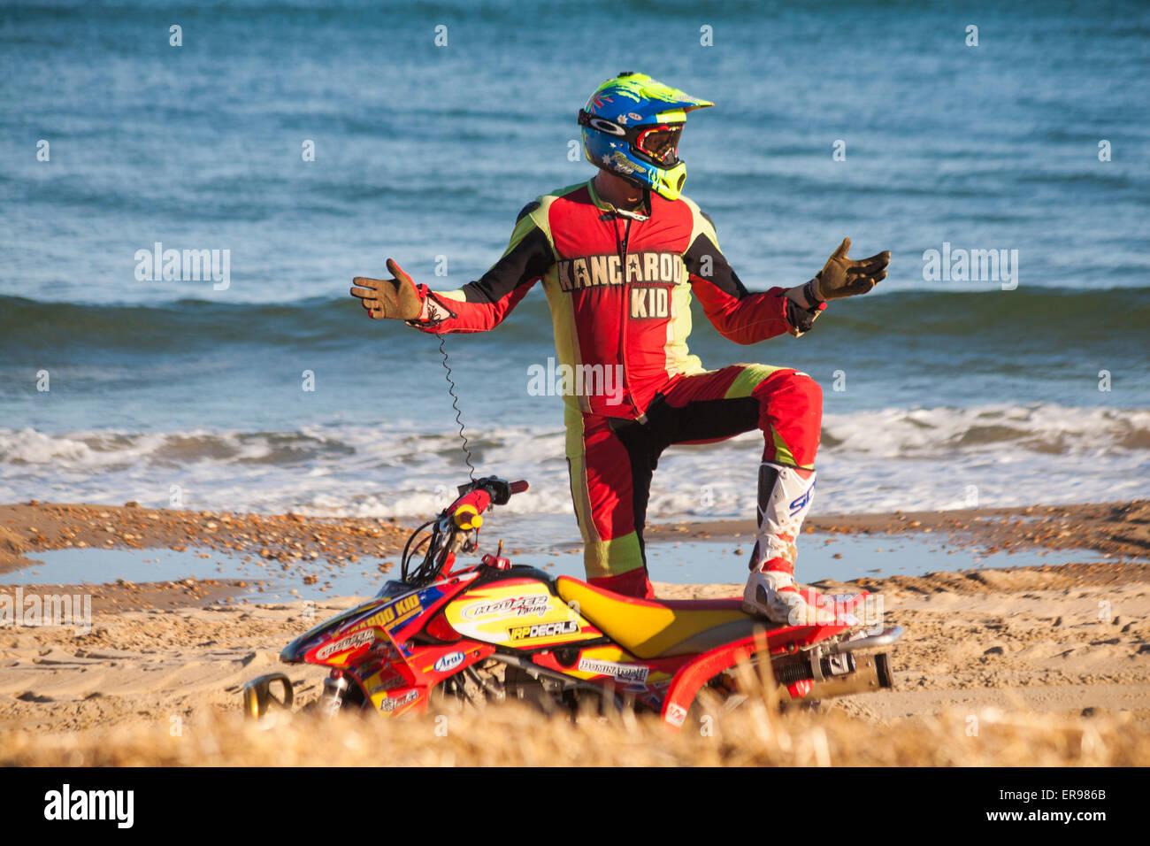 Bournemouth, UK 29 May 2015. The Australian stunt driver Kangaroo Kid (Matt Coulter), who makes his debut at the - Stock Image