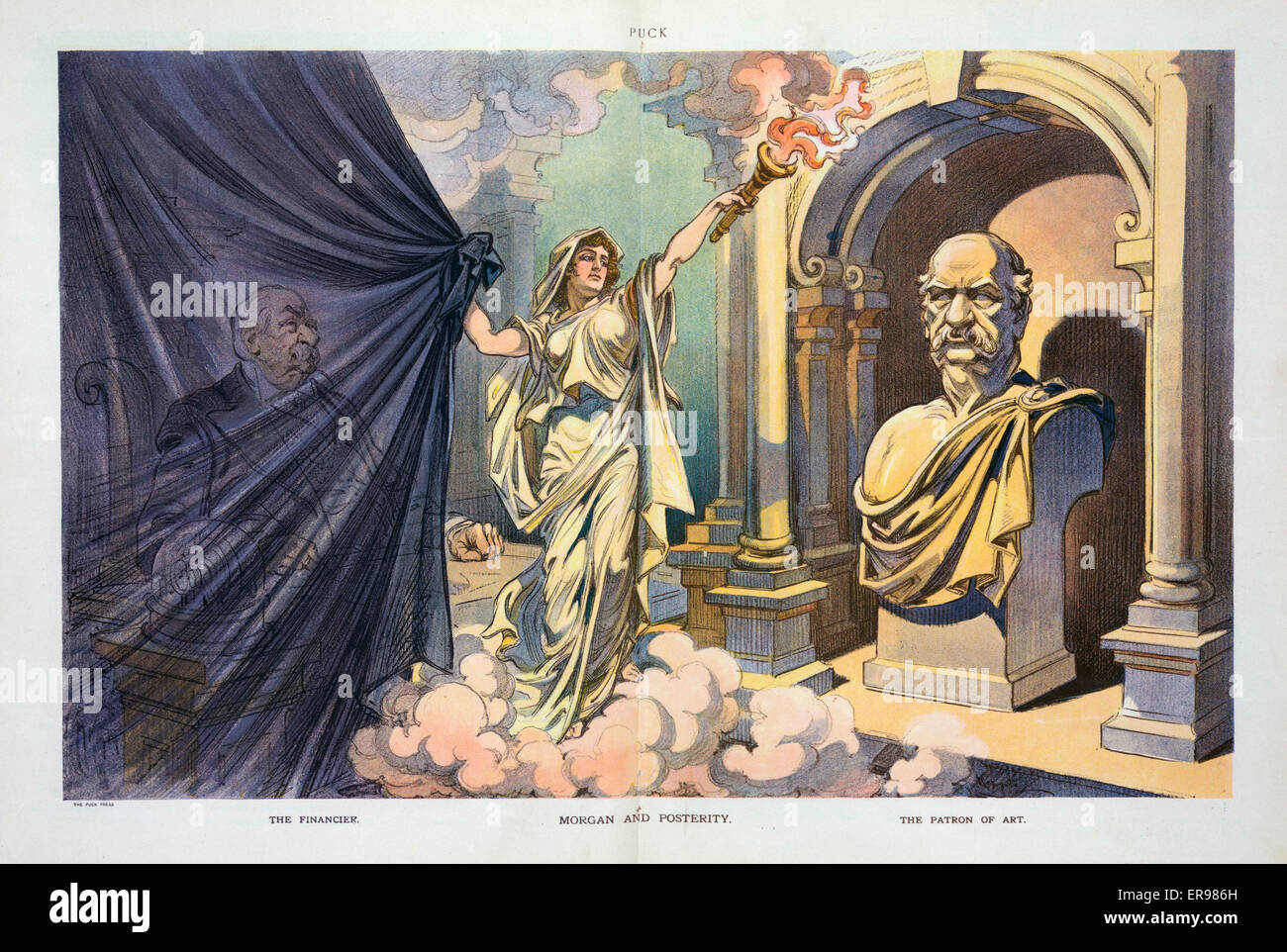 Morgan and posterity. Illustration shows an angel drawing a curtain over the figure of JP Morgan sitting in a chair - Stock Image